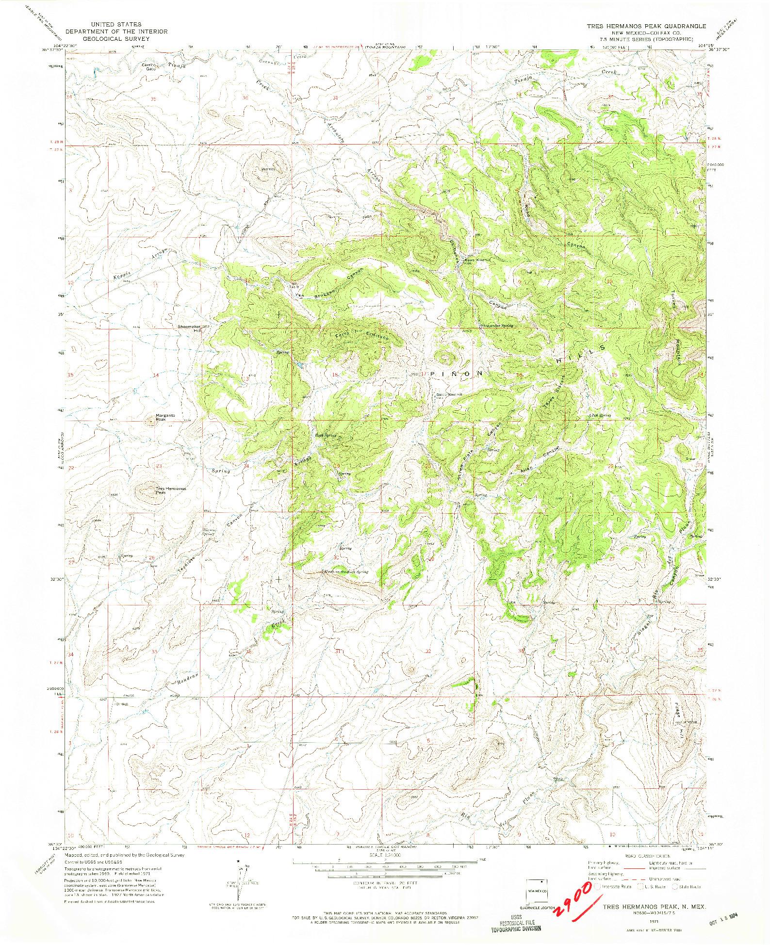USGS 1:24000-SCALE QUADRANGLE FOR TRES HERMANOS PEAK, NM 1971