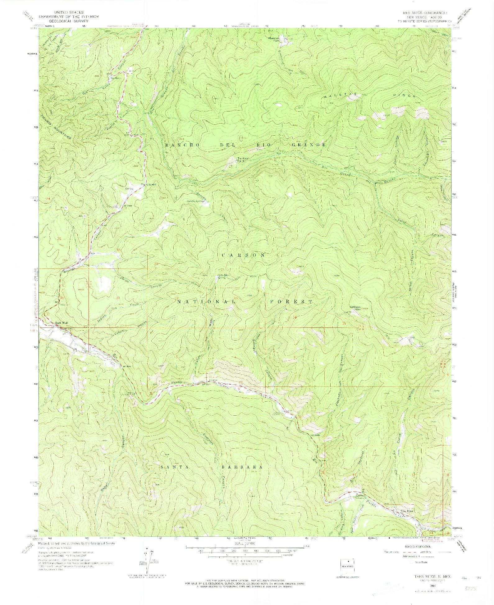 USGS 1:24000-SCALE QUADRANGLE FOR TRES RITOS, NM 1964