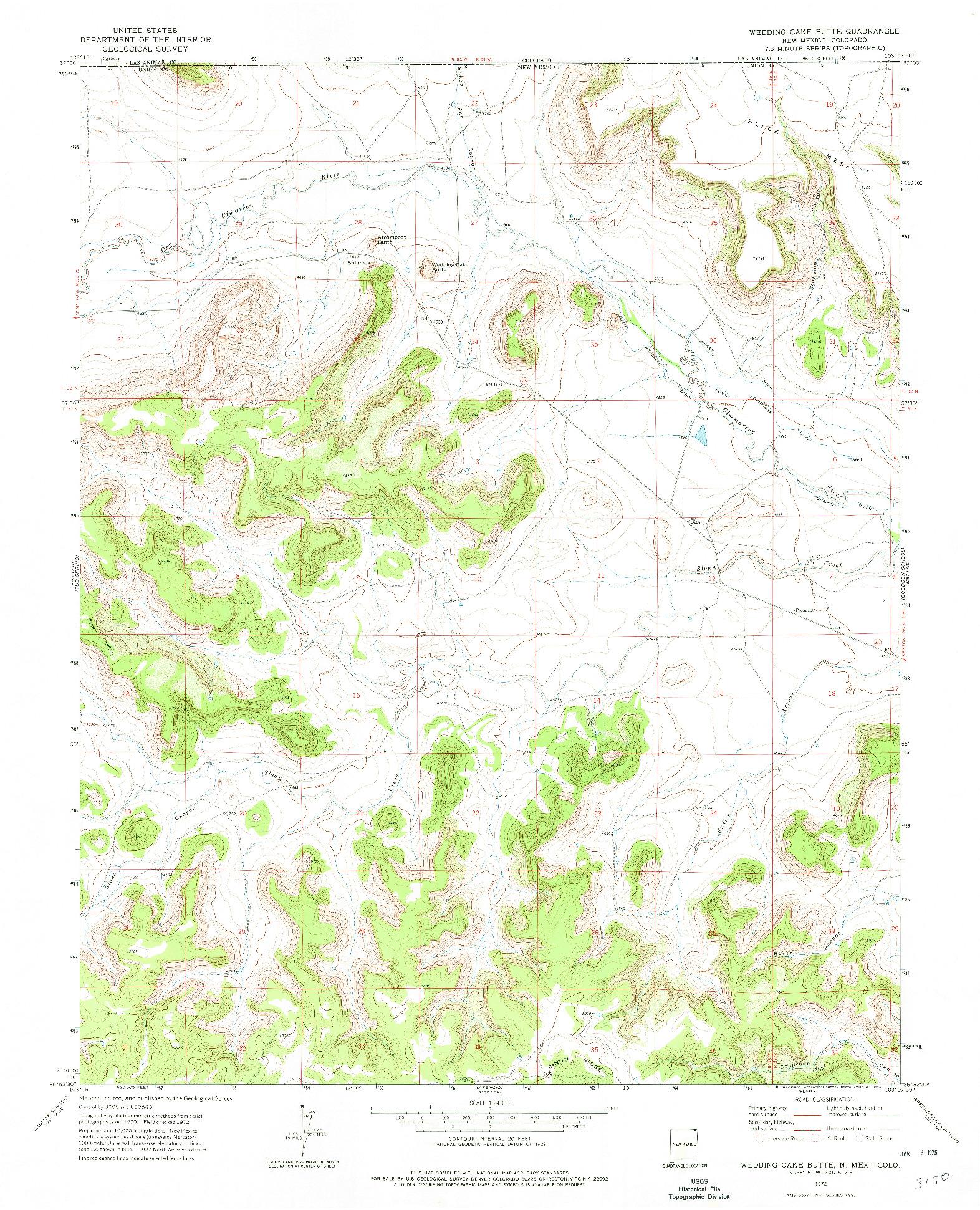 USGS 1:24000-SCALE QUADRANGLE FOR WEDDING CAKE BUTTE, NM 1972