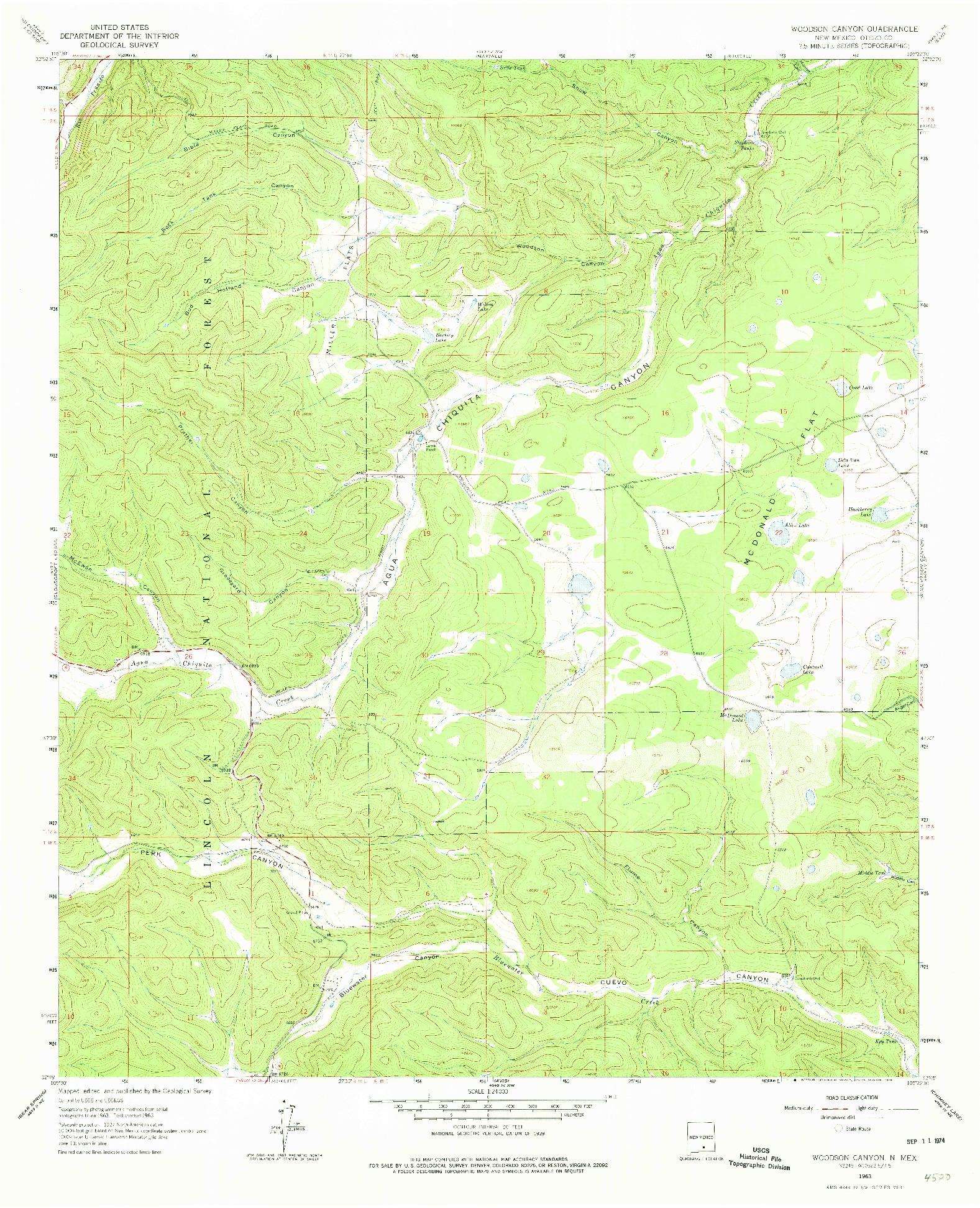 USGS 1:24000-SCALE QUADRANGLE FOR WOODSON CANYON, NM 1963