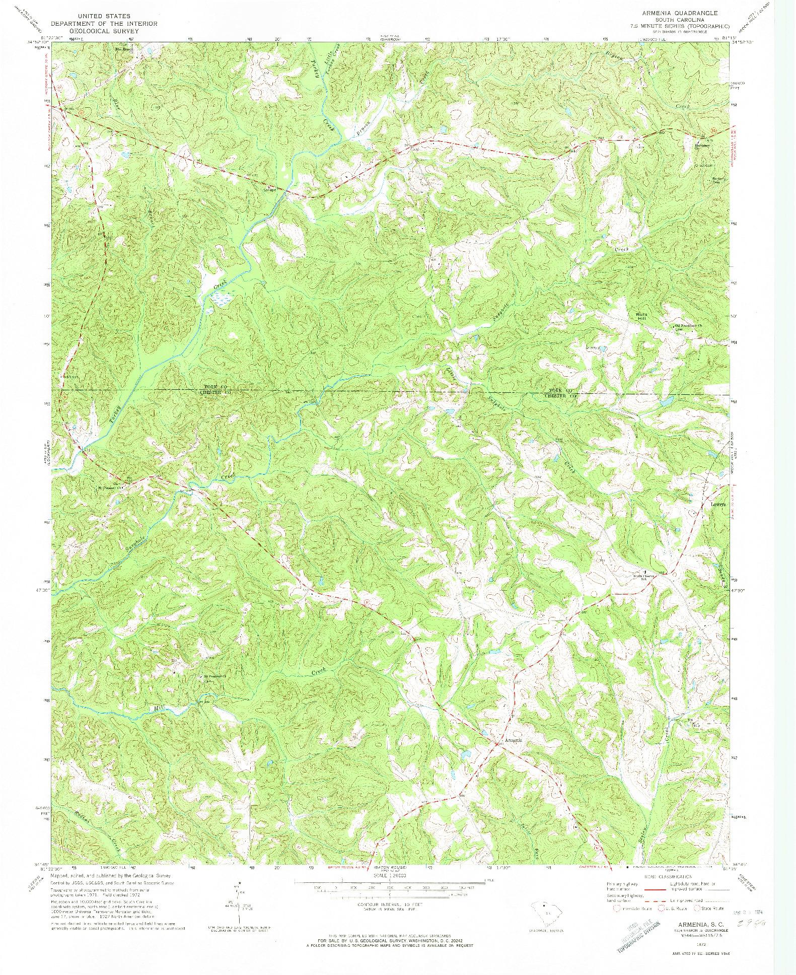 USGS 1:24000-SCALE QUADRANGLE FOR ARMENIA, SC 1972