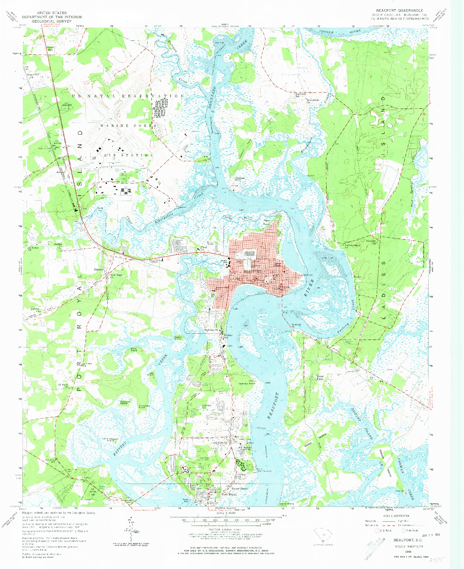 USGS 1:24000-SCALE QUADRANGLE FOR BEAUFORT, SC 1958