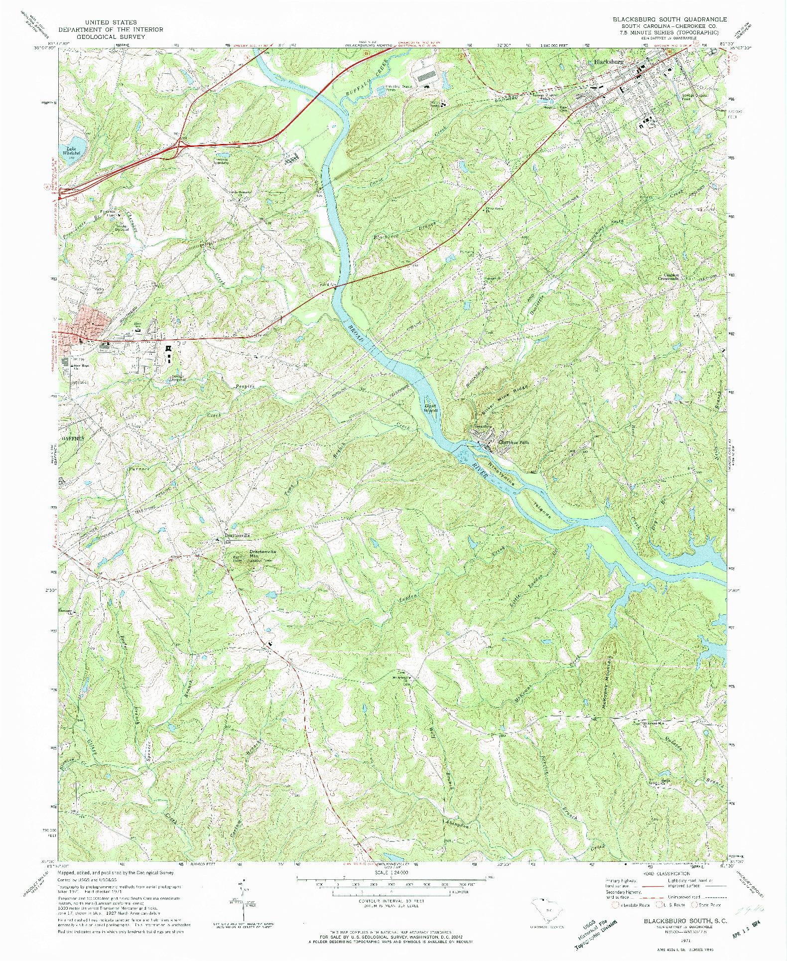 USGS 1:24000-SCALE QUADRANGLE FOR BLACKSBURG SOUTH, SC 1971