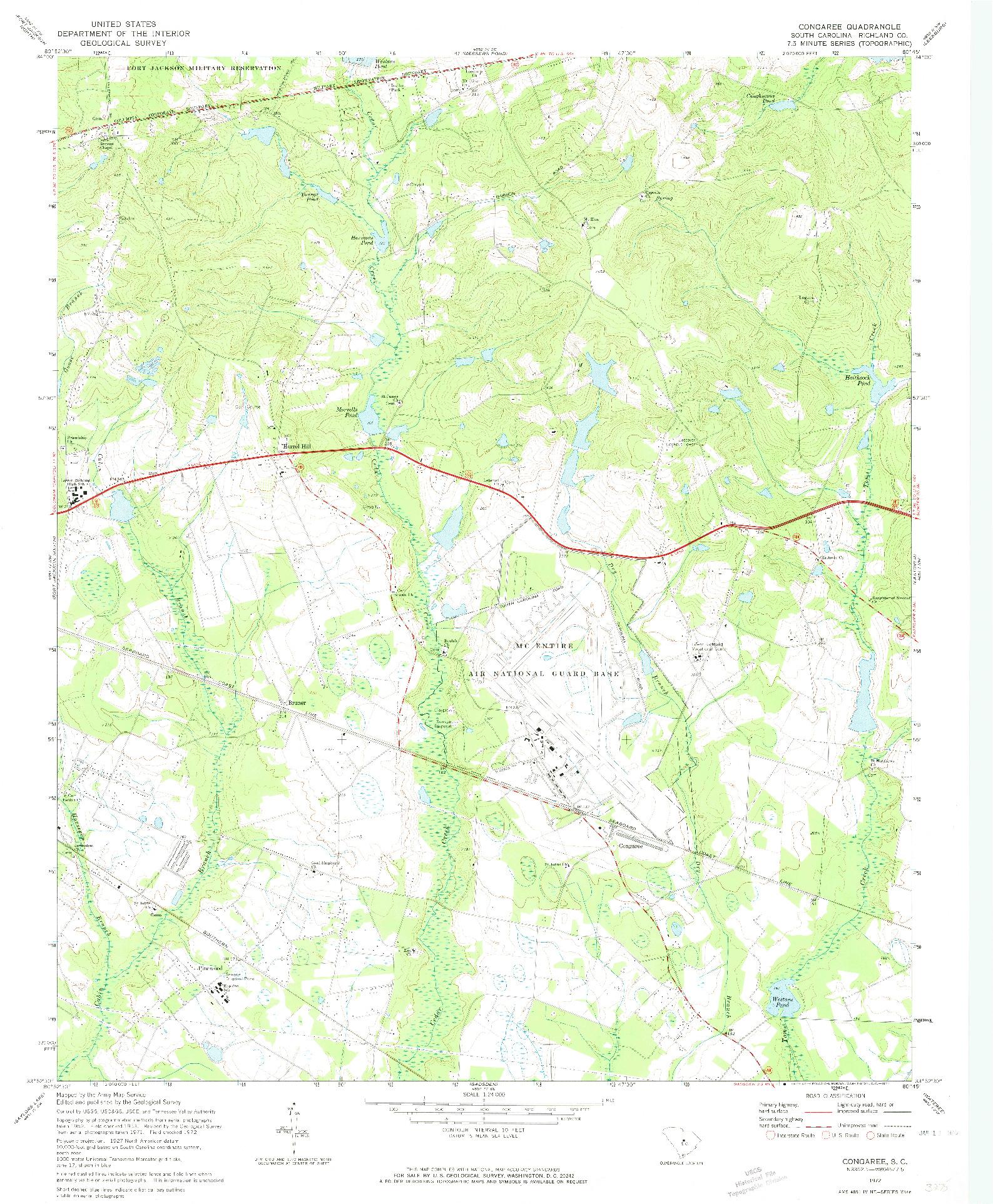 USGS 1:24000-SCALE QUADRANGLE FOR CONGAREE, SC 1972