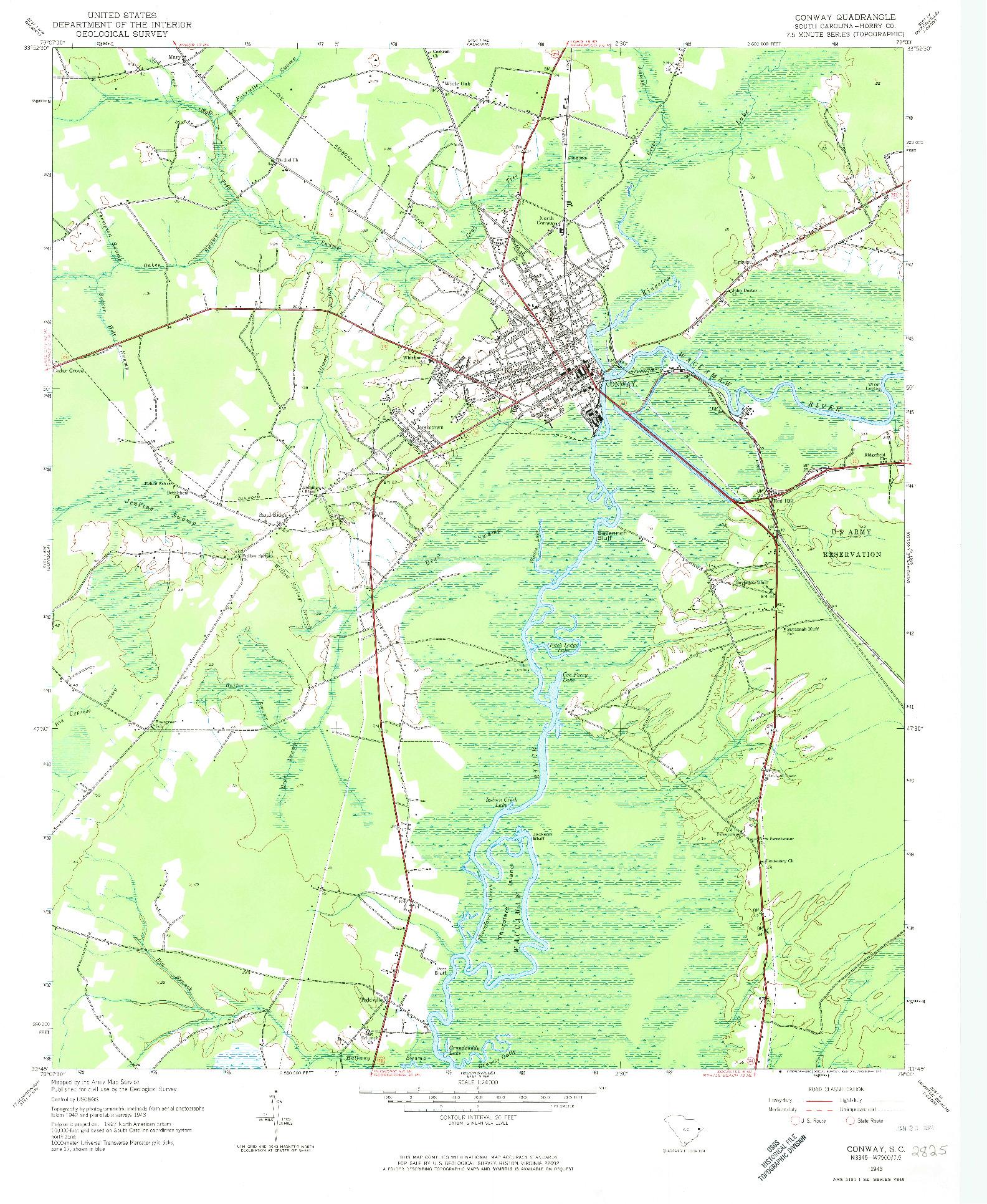 USGS 1:24000-SCALE QUADRANGLE FOR CONWAY, SC 1943