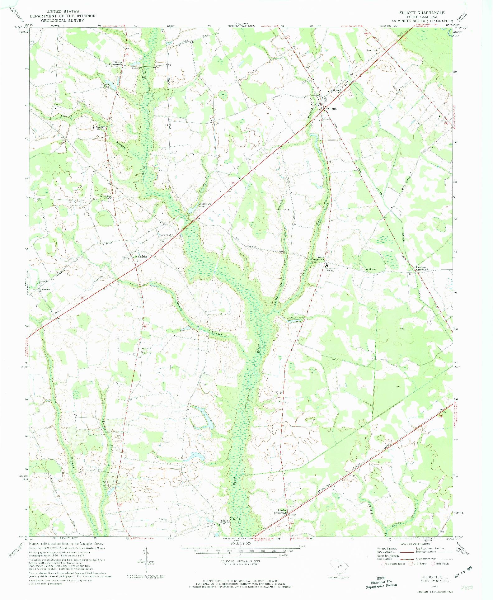 USGS 1:24000-SCALE QUADRANGLE FOR ELLIOTT, SC 1973