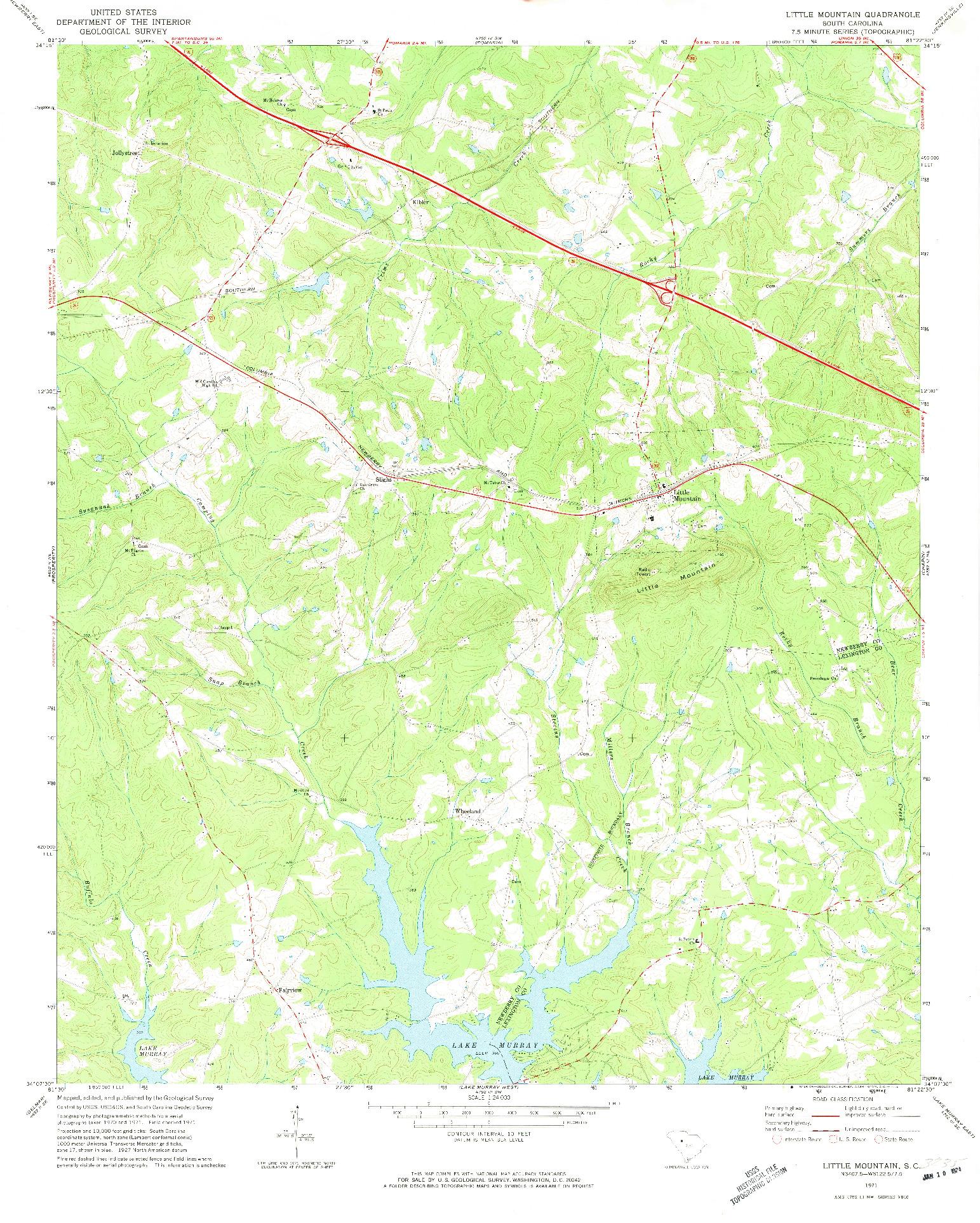 USGS 1:24000-SCALE QUADRANGLE FOR LITTLE MOUNTAIN, SC 1971