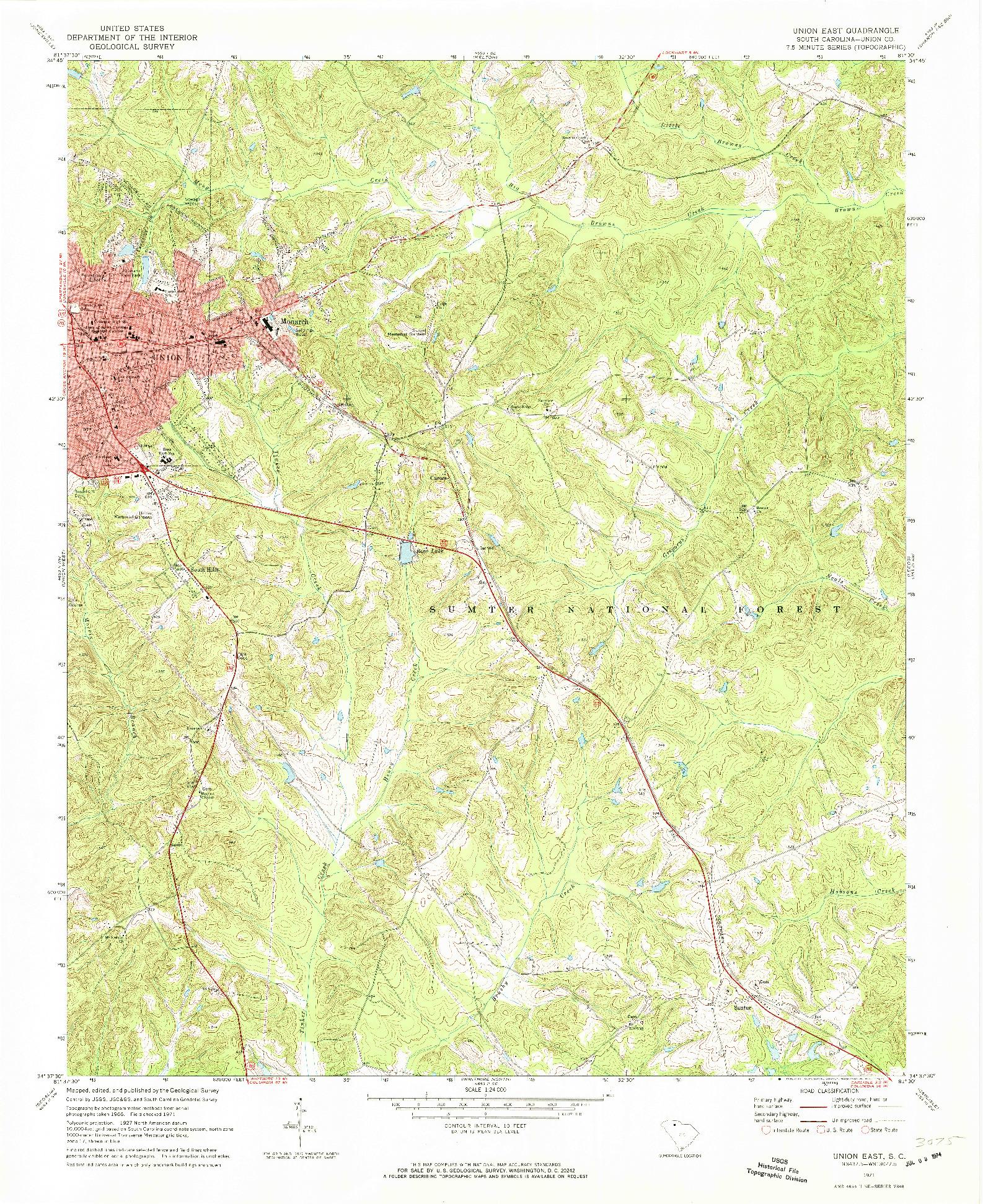 USGS 1:24000-SCALE QUADRANGLE FOR UNION EAST, SC 1971