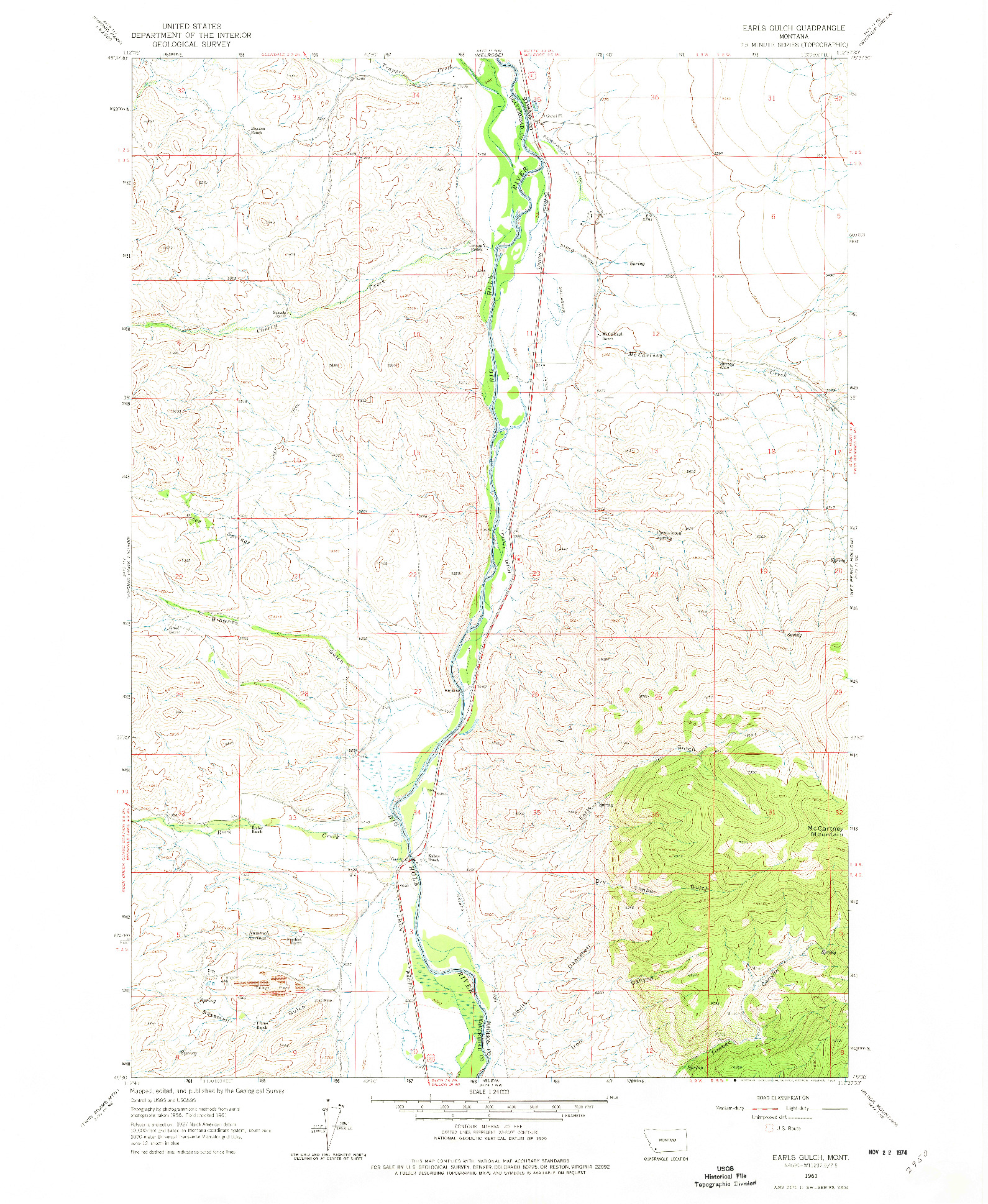 USGS 1:24000-SCALE QUADRANGLE FOR EARLS GULCH, MT 1961