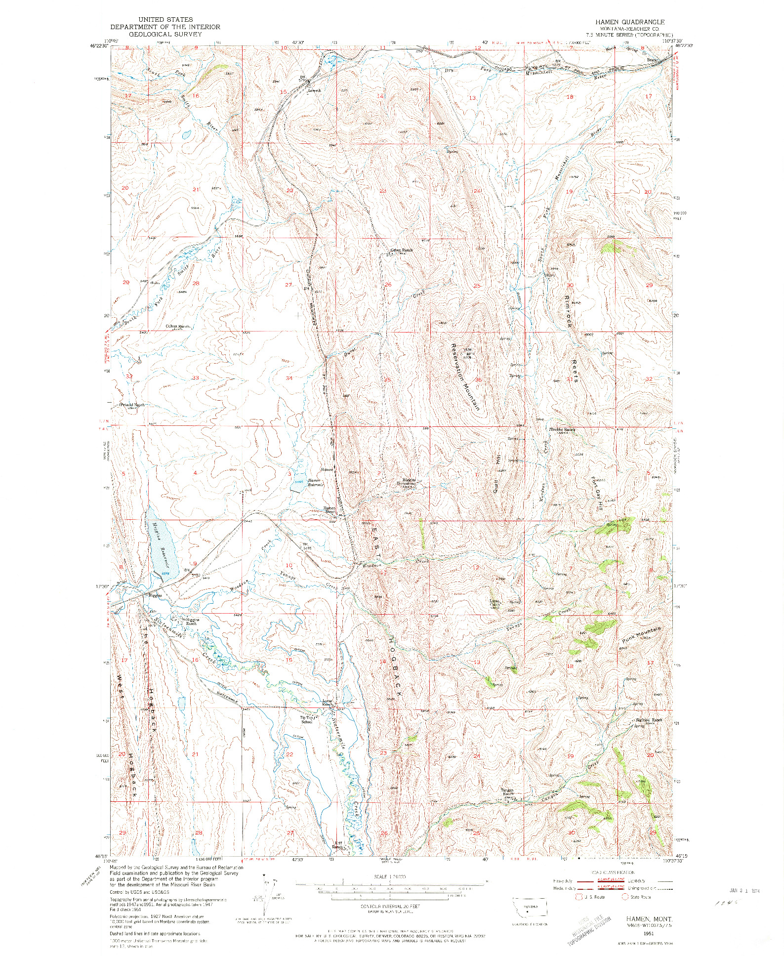 USGS 1:24000-SCALE QUADRANGLE FOR HAMEN, MT 1951