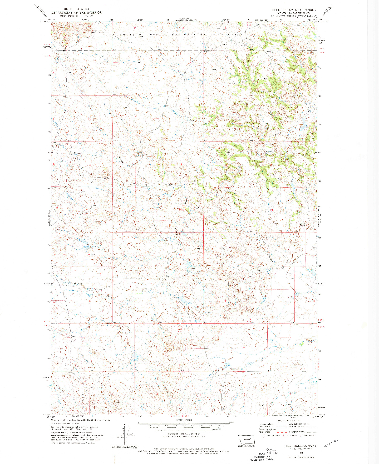 USGS 1:24000-SCALE QUADRANGLE FOR HELL HOLLOW, MT 1971