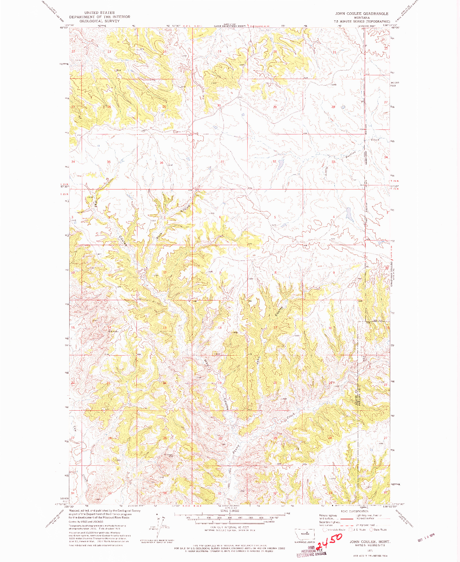 USGS 1:24000-SCALE QUADRANGLE FOR JOHN COULEE, MT 1971
