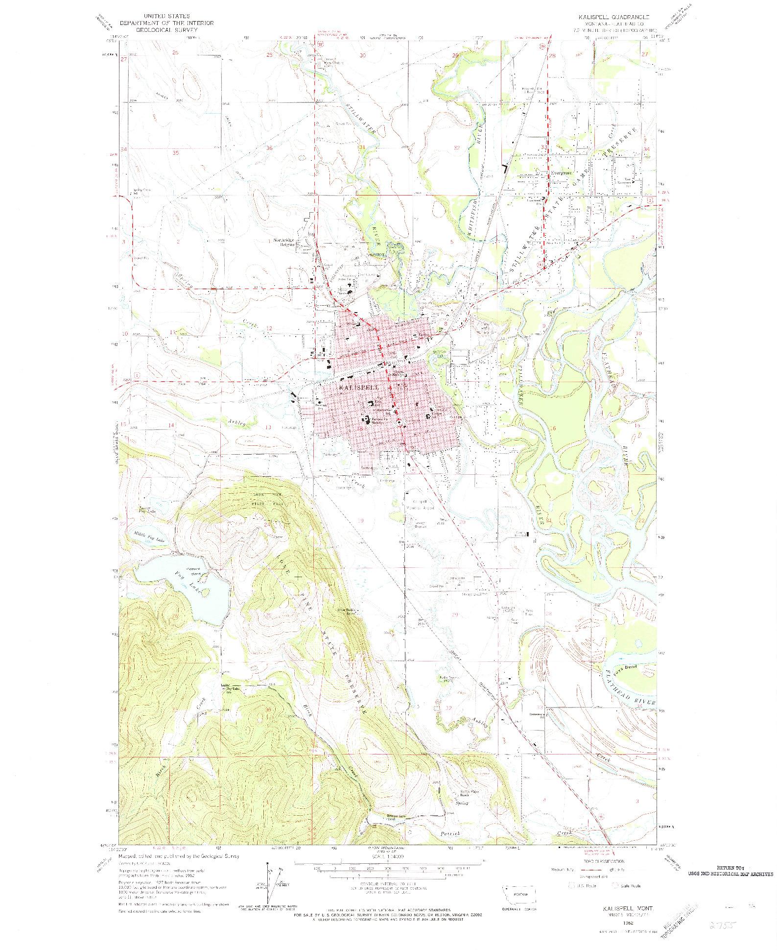 USGS 1:24000-SCALE QUADRANGLE FOR KALISPELL, MT 1962