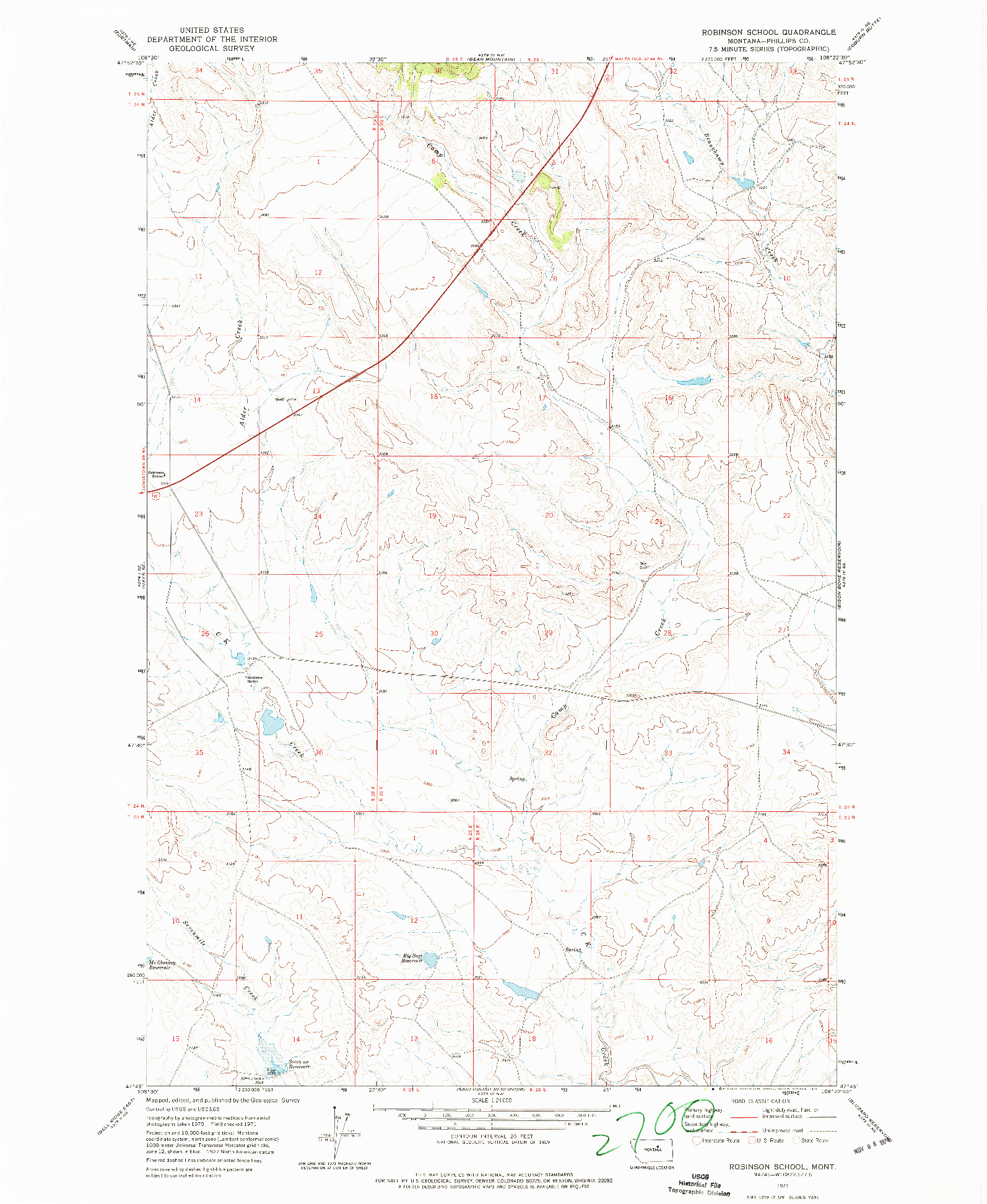 USGS 1:24000-SCALE QUADRANGLE FOR ROBINSON SCHOOL, MT 1971