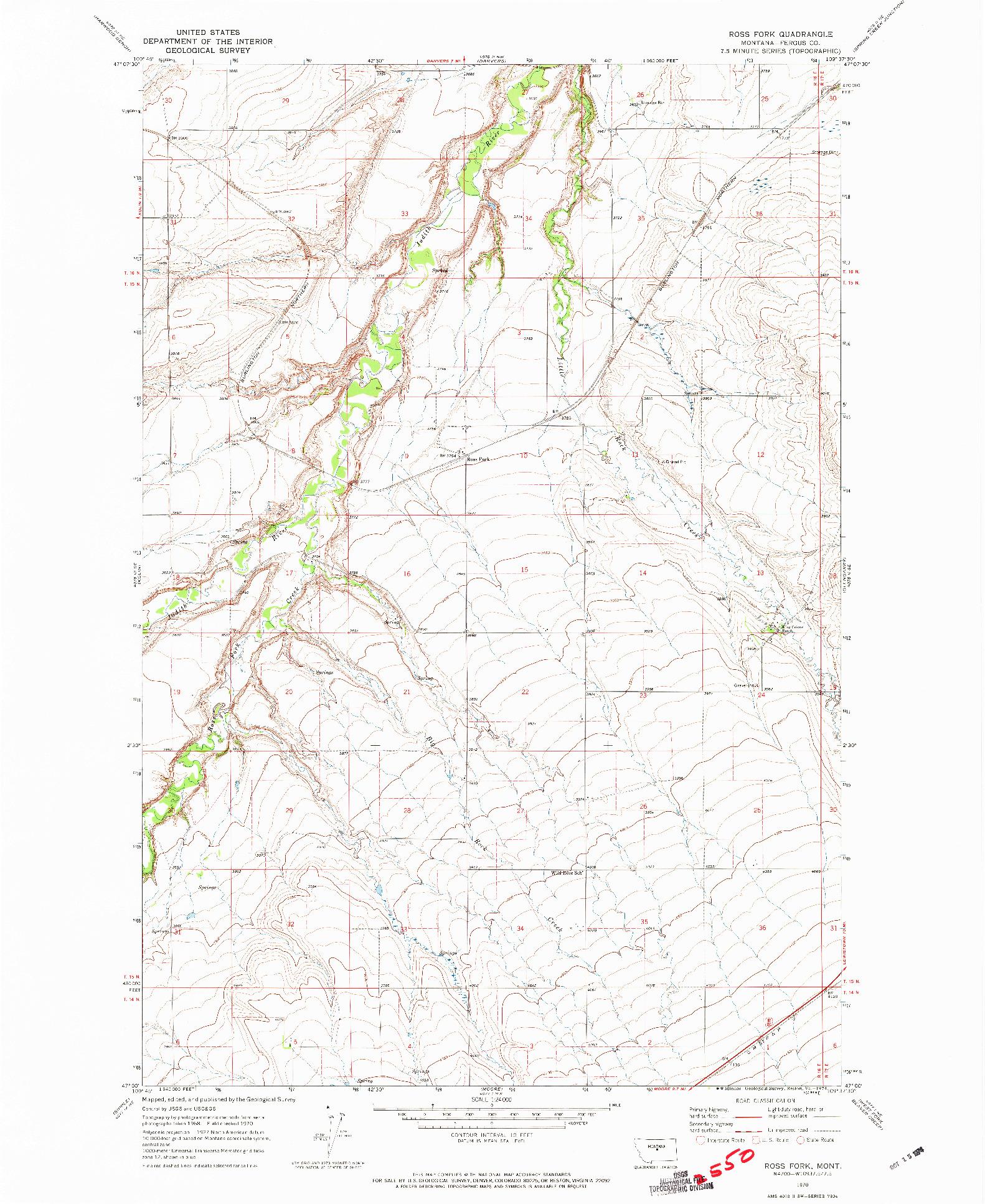 USGS 1:24000-SCALE QUADRANGLE FOR ROSS FORK, MT 1970