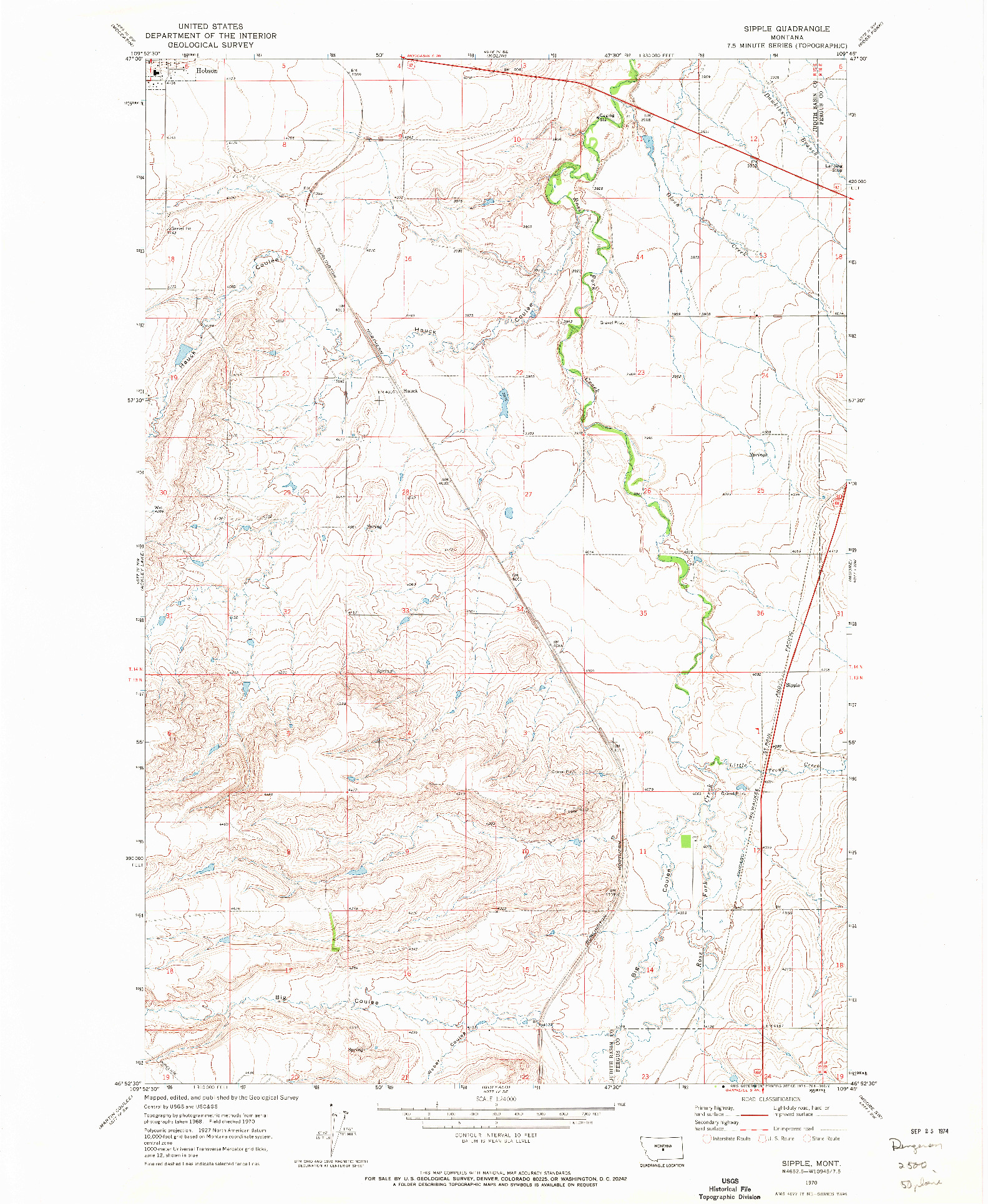 USGS 1:24000-SCALE QUADRANGLE FOR SIPPLE, MT 1970