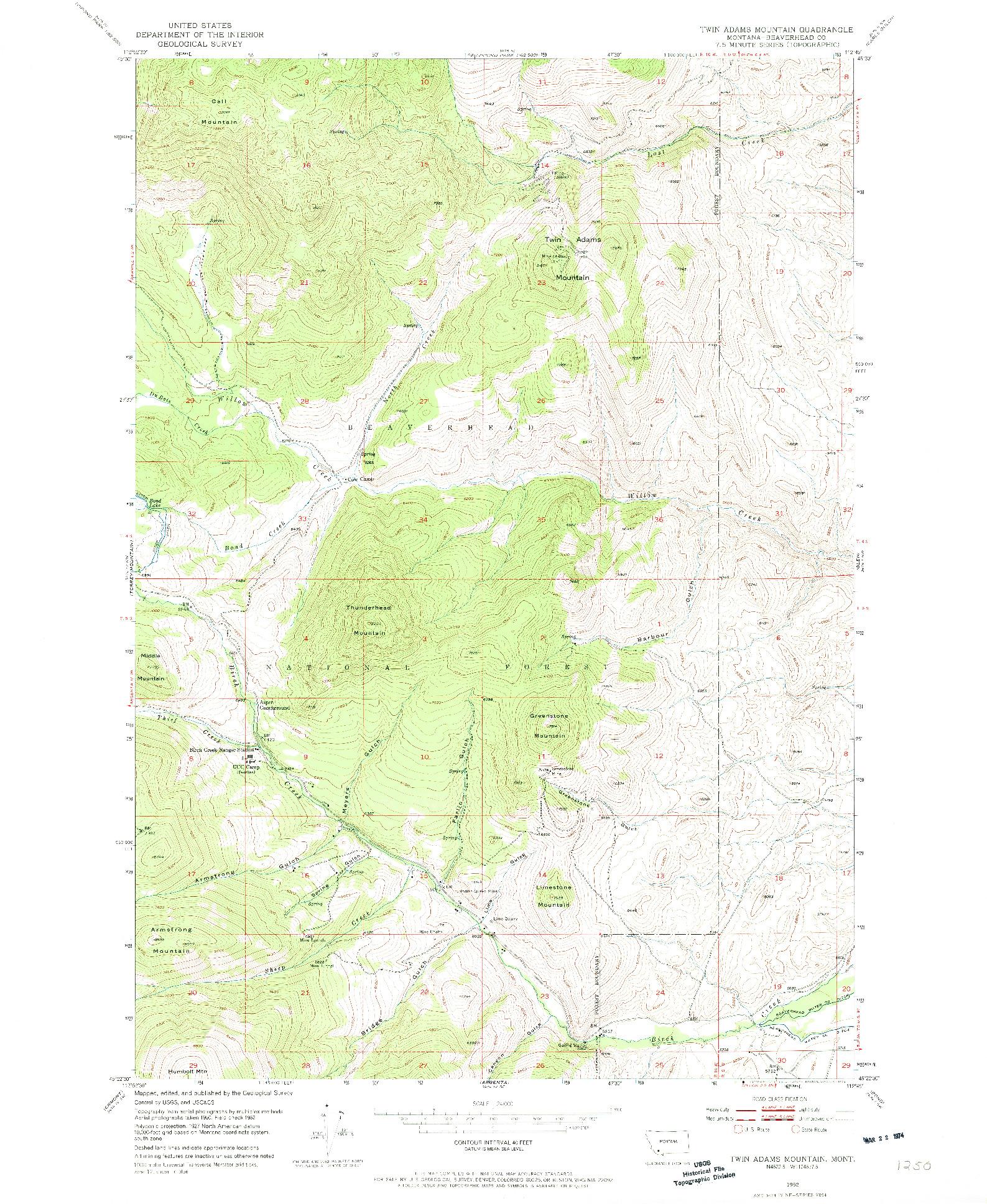 USGS 1:24000-SCALE QUADRANGLE FOR TWIN ADAMS MOUNTAIN, MT 1952