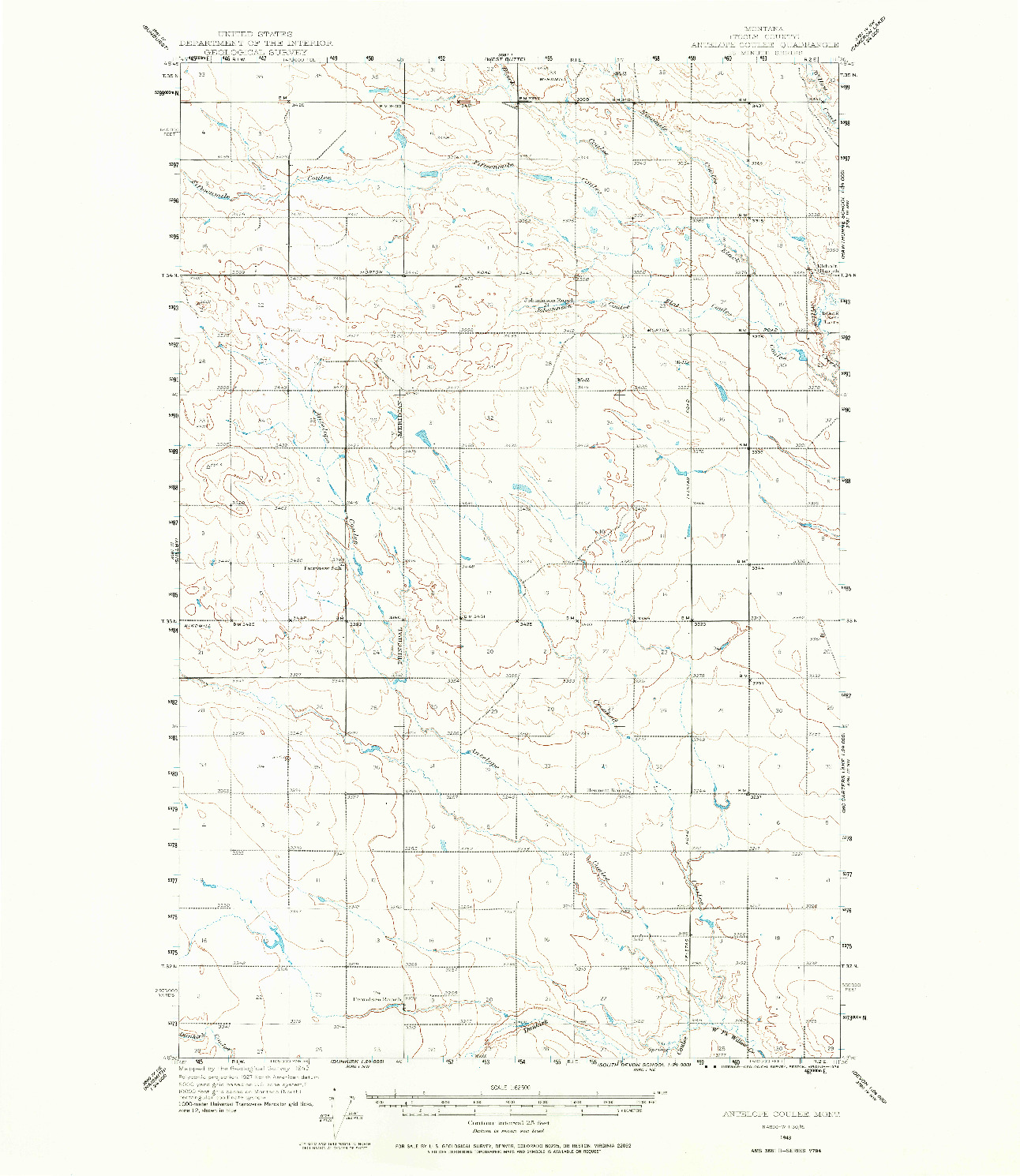 USGS 1:62500-SCALE QUADRANGLE FOR ANTELOPE COULEE, MT 1943
