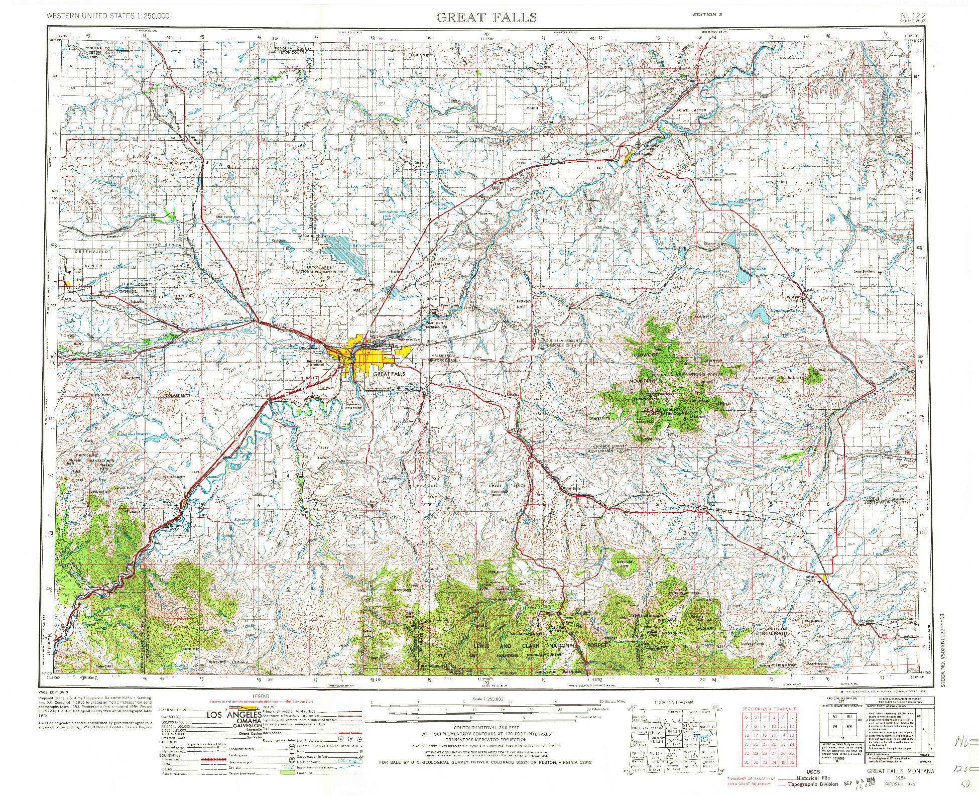 USGS 1:250000-SCALE QUADRANGLE FOR GREAT FALLS, MT 1954