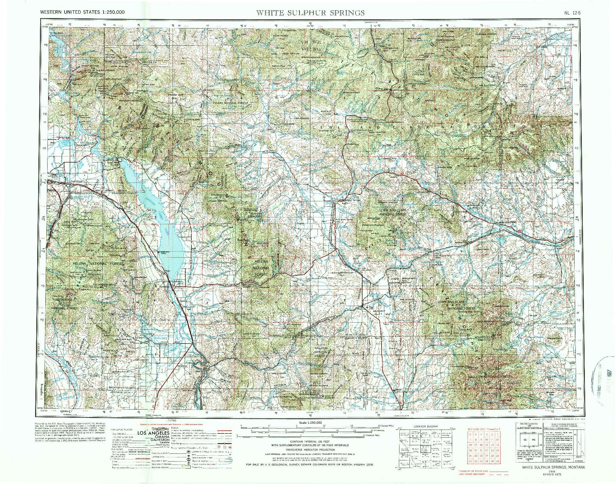 USGS 1:250000-SCALE QUADRANGLE FOR WHITE SULPHUR SPRINGS, MT 1958