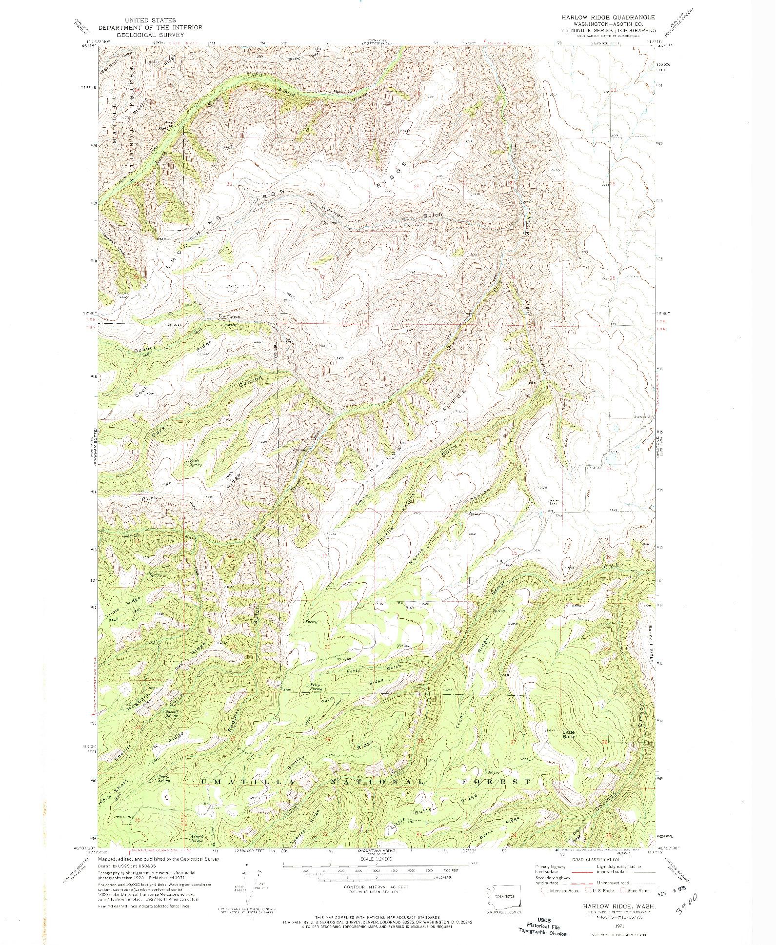 USGS 1:24000-SCALE QUADRANGLE FOR HARLOW RIDGE, WA 1971