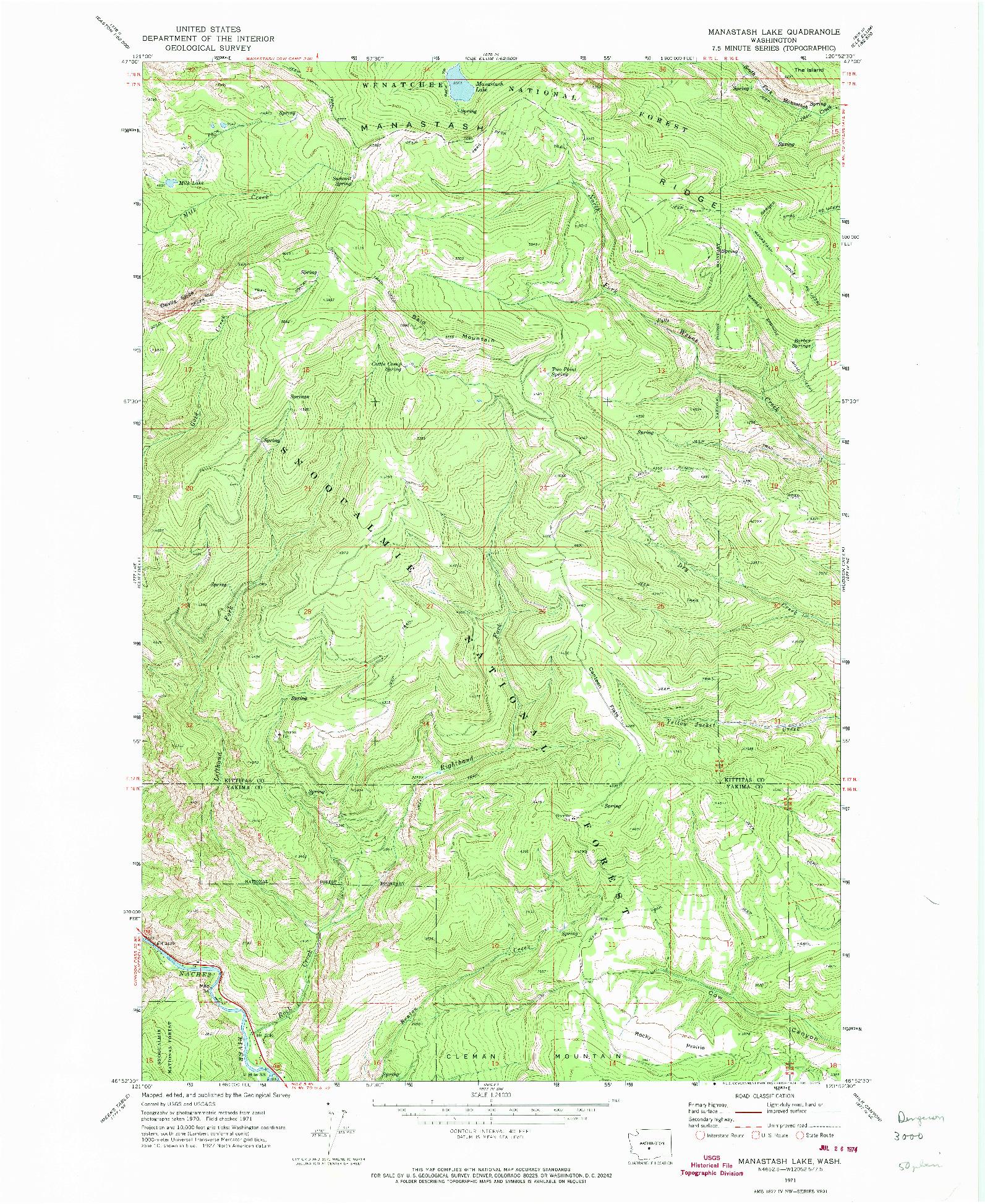 USGS 1:24000-SCALE QUADRANGLE FOR MANASTASH LAKE, WA 1971