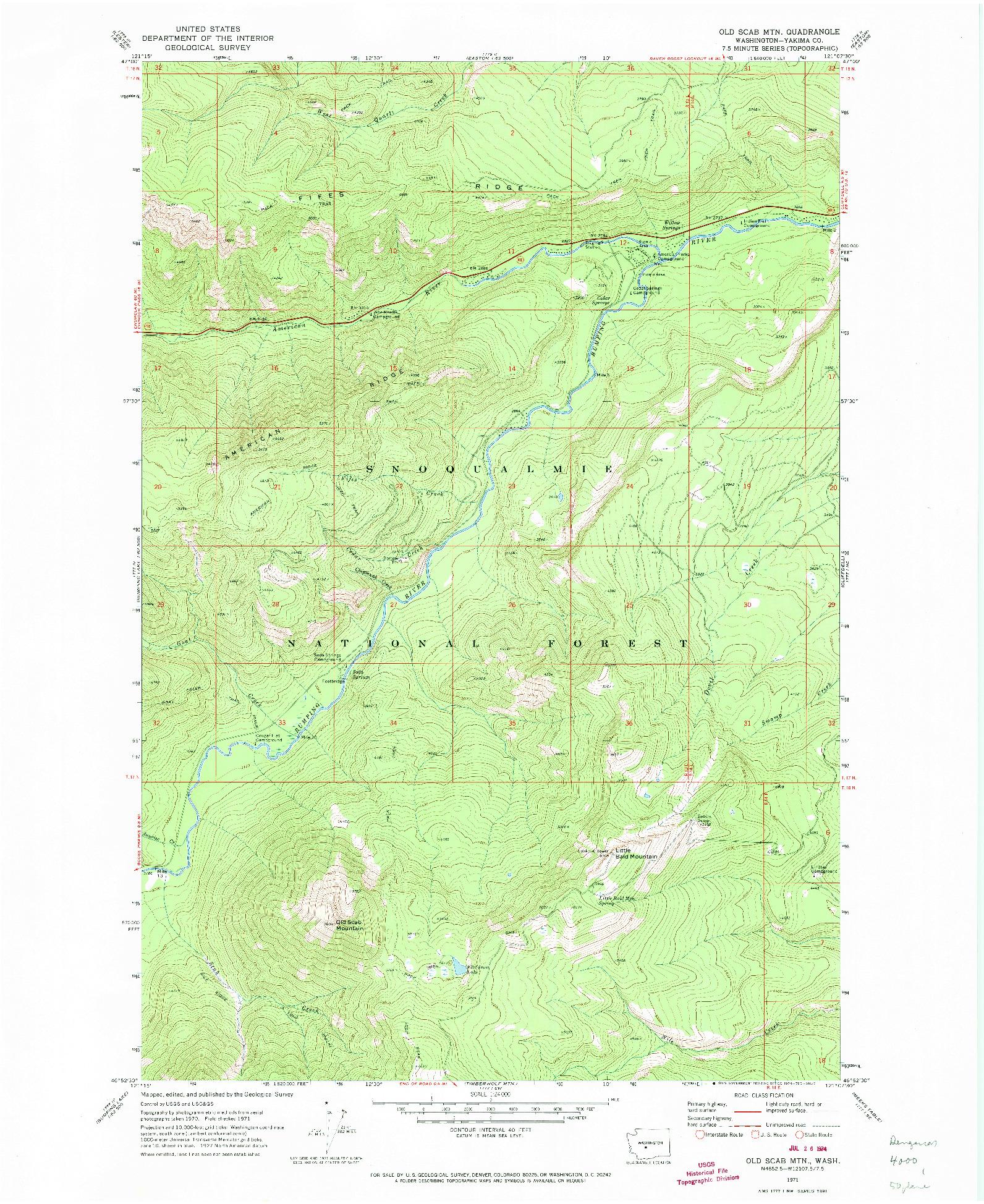 USGS 1:24000-SCALE QUADRANGLE FOR OLD SCAB MTN., WA 1971