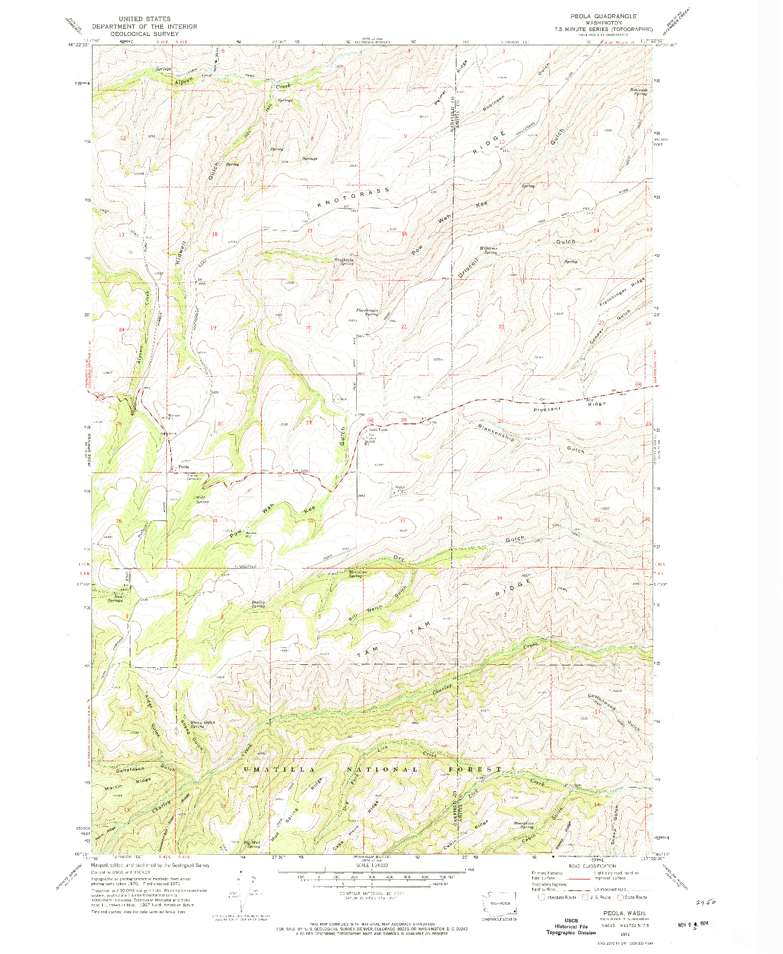 USGS 1:24000-SCALE QUADRANGLE FOR PEOLA, WA 1971