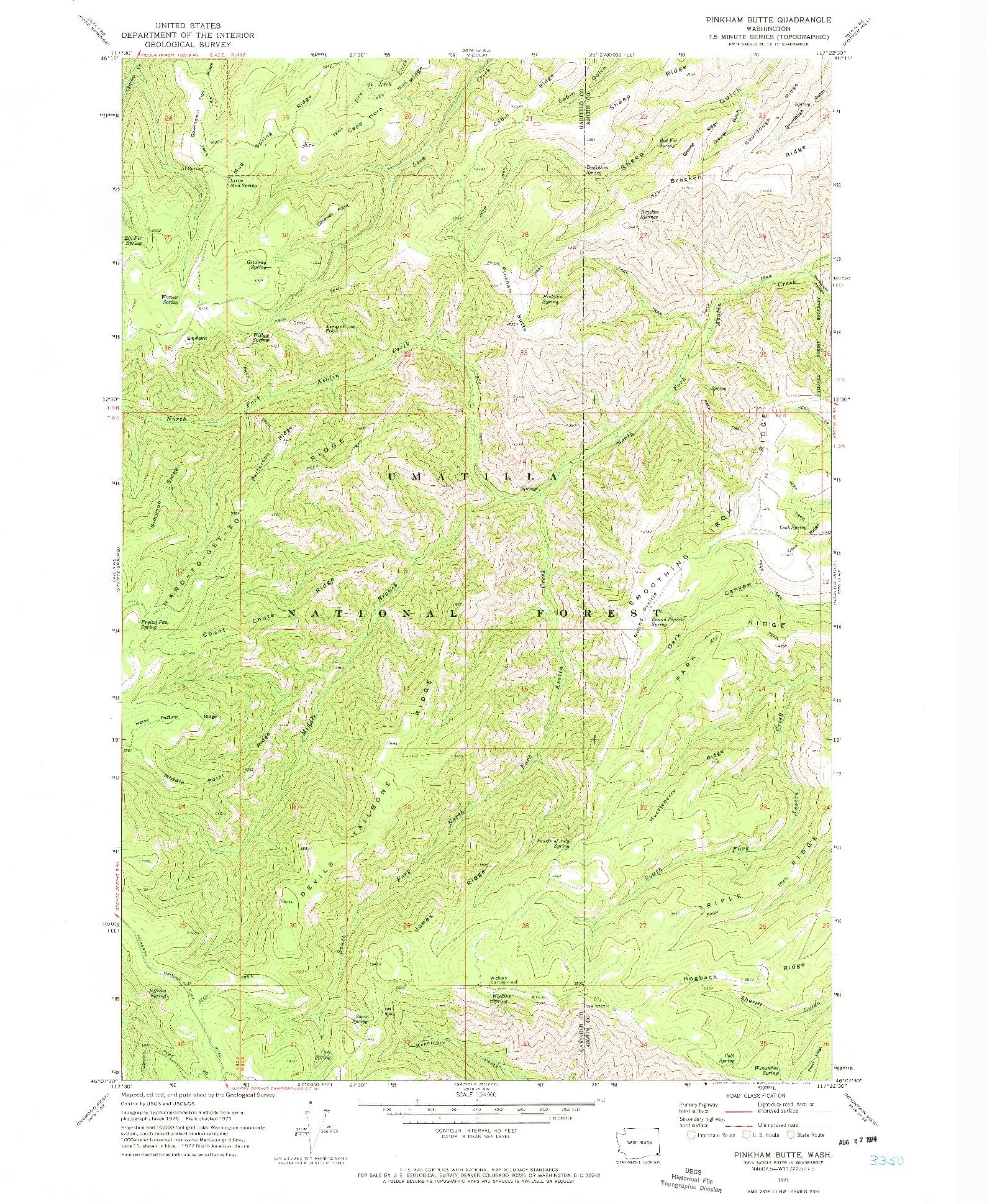 USGS 1:24000-SCALE QUADRANGLE FOR PINKHAM BUTTE, WA 1971