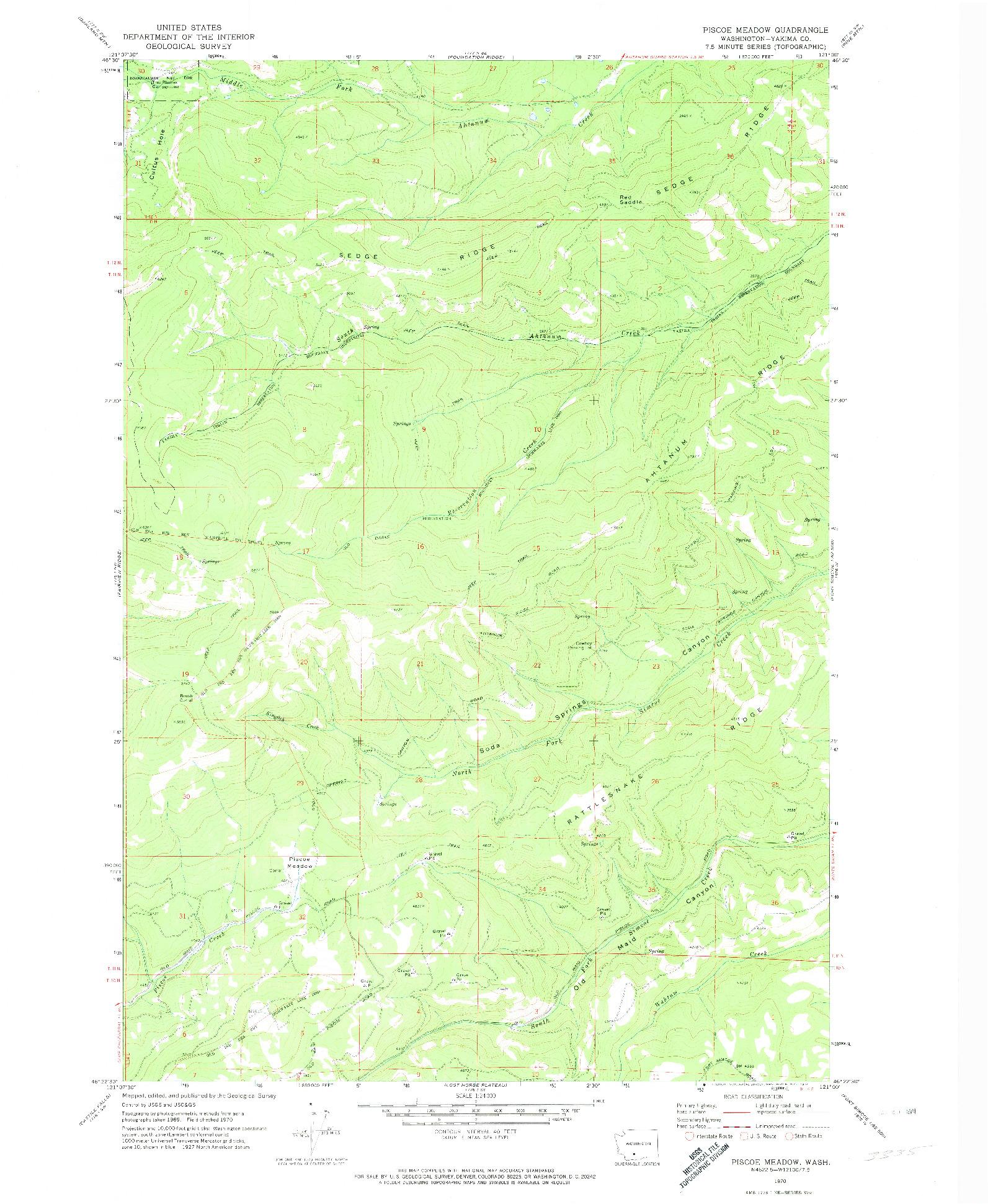 USGS 1:24000-SCALE QUADRANGLE FOR PISCOE MEADOW, WA 1970