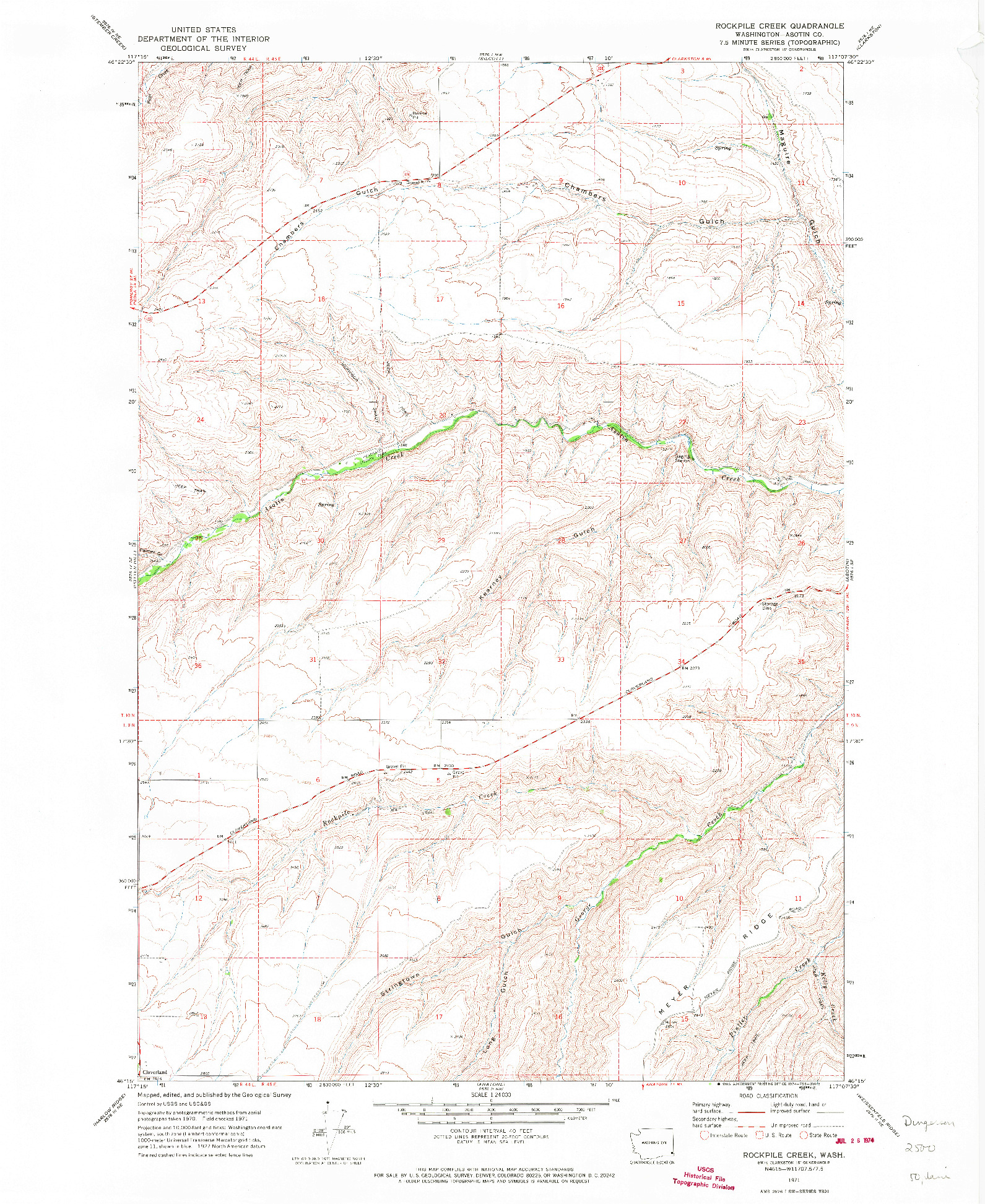 USGS 1:24000-SCALE QUADRANGLE FOR ROCKPILE CREEK, WA 1971