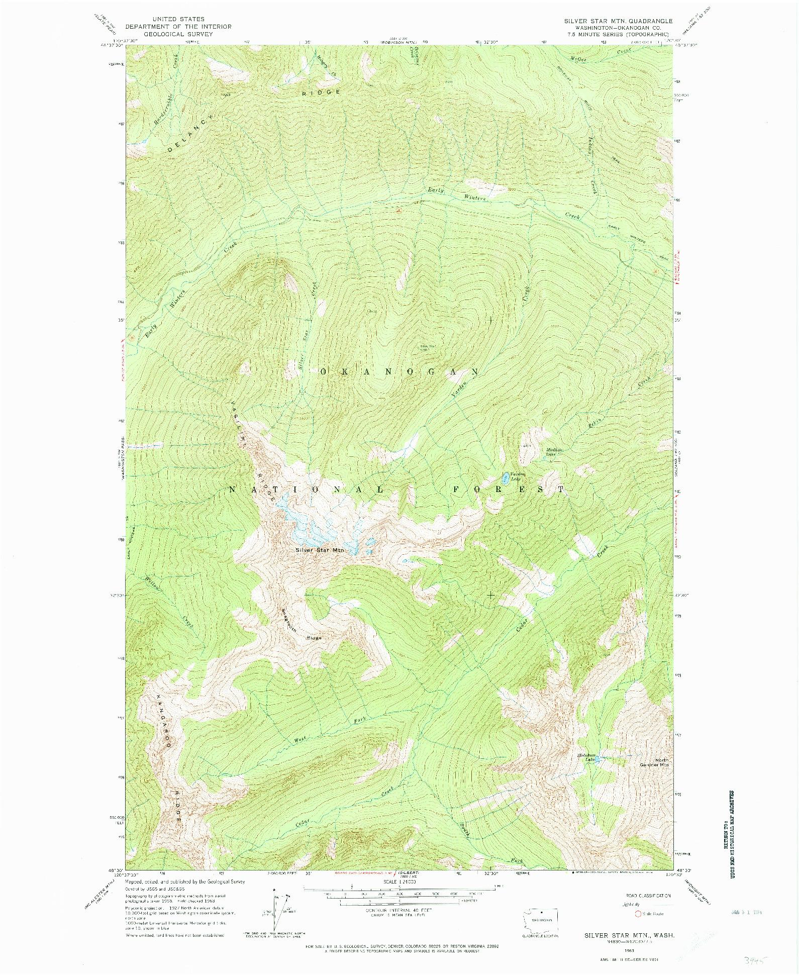 USGS 1:24000-SCALE QUADRANGLE FOR SILVER STAR MTN., WA 1963