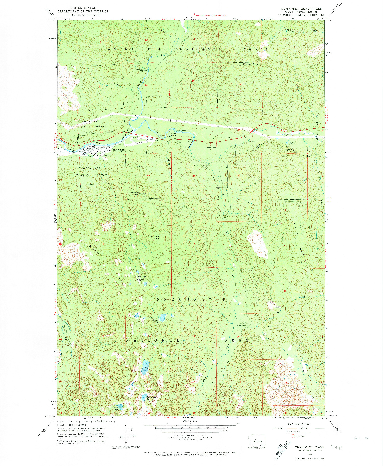 USGS 1:24000-SCALE QUADRANGLE FOR SKYKOMISH, WA 1965