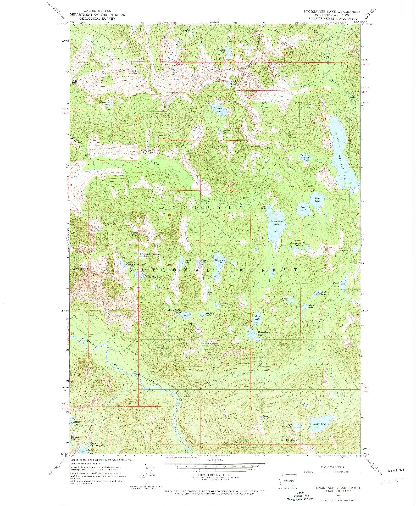 USGS 1:24000-SCALE QUADRANGLE FOR SNOQUALMIE LAKE, WA 1965
