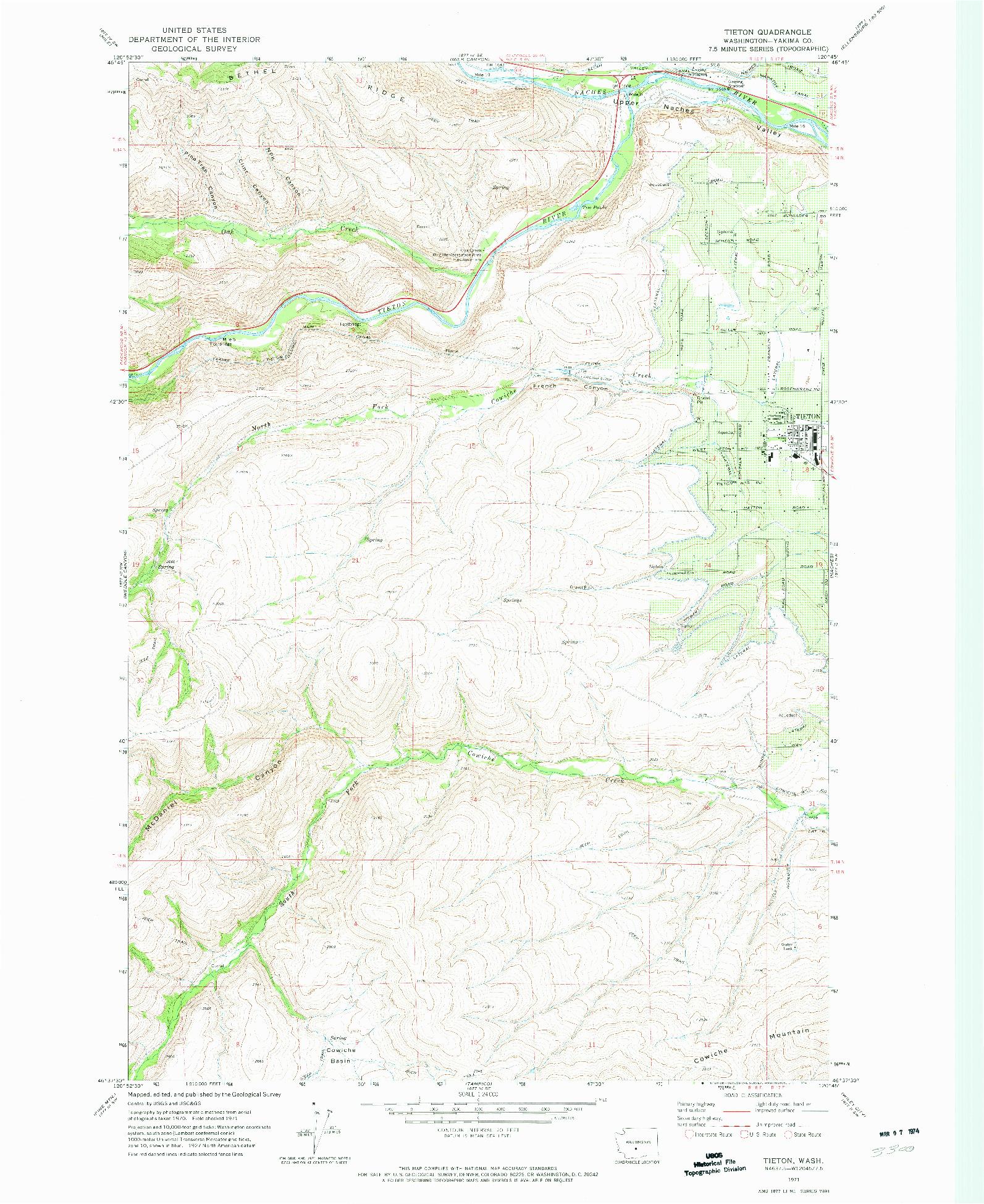USGS 1:24000-SCALE QUADRANGLE FOR TIETON, WA 1971