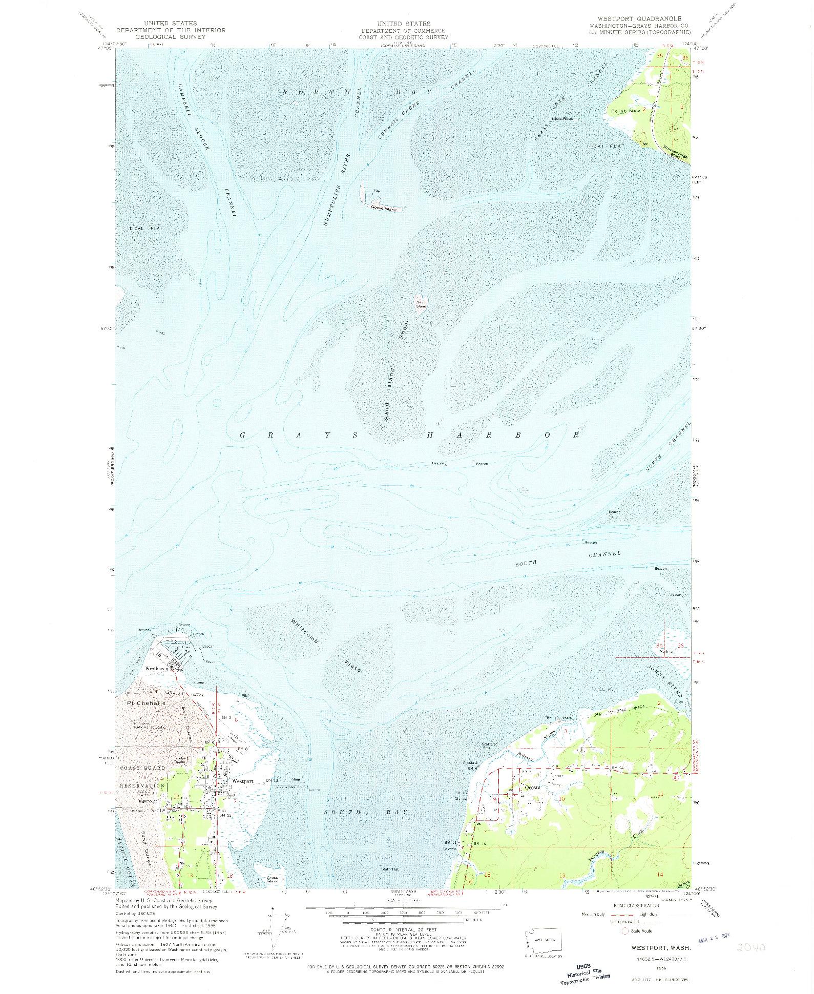 USGS 1:24000-SCALE QUADRANGLE FOR WESTPORT, WA 1956