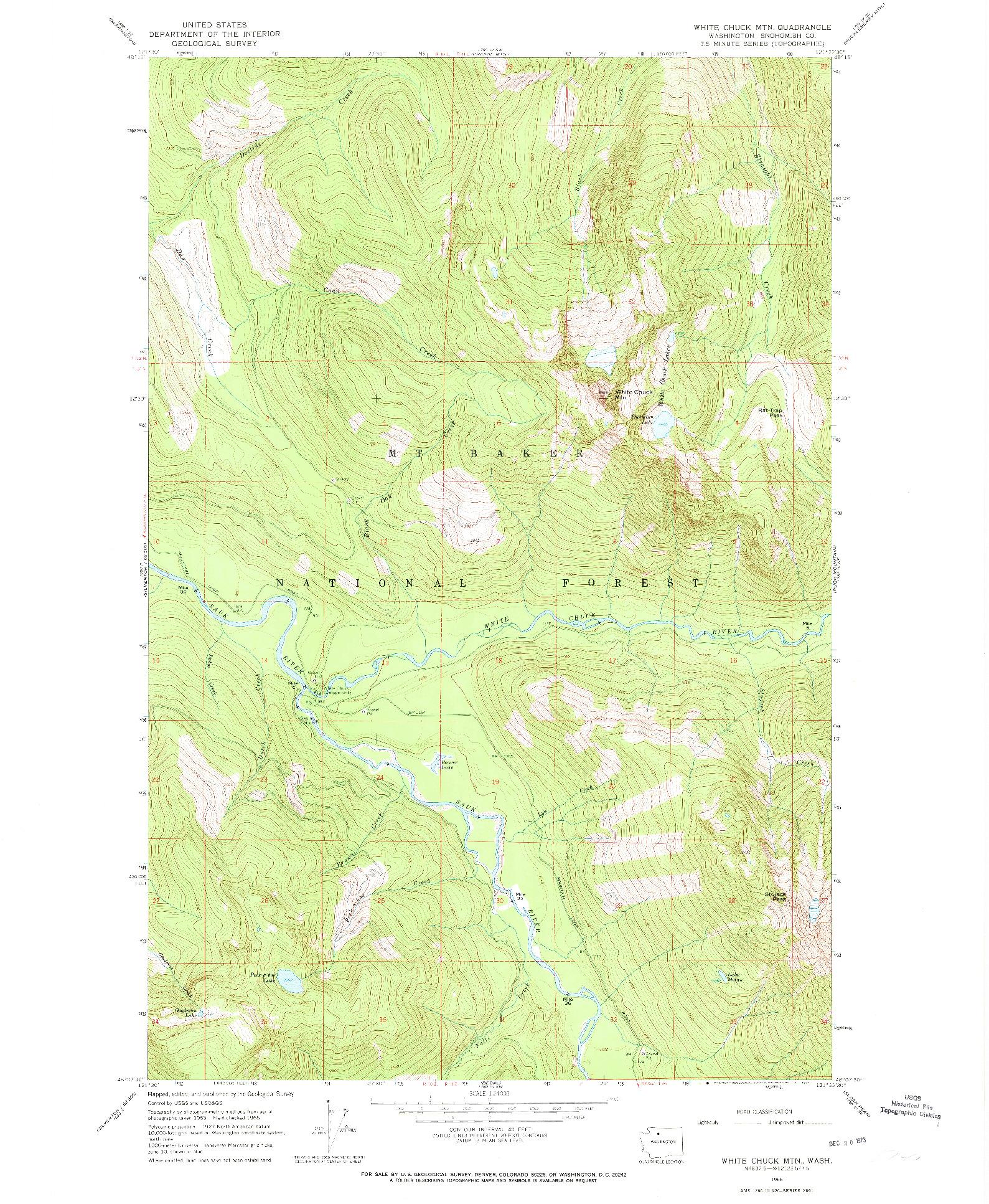 USGS 1:24000-SCALE QUADRANGLE FOR WHITE CHUCK MTN., WA 1966