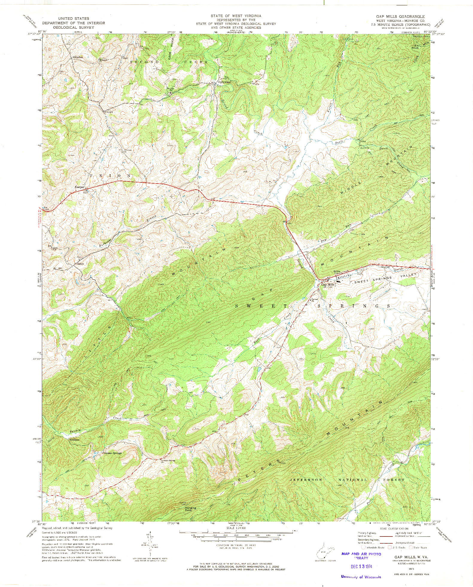USGS 1:24000-SCALE QUADRANGLE FOR GAP MILLS, WV 1971