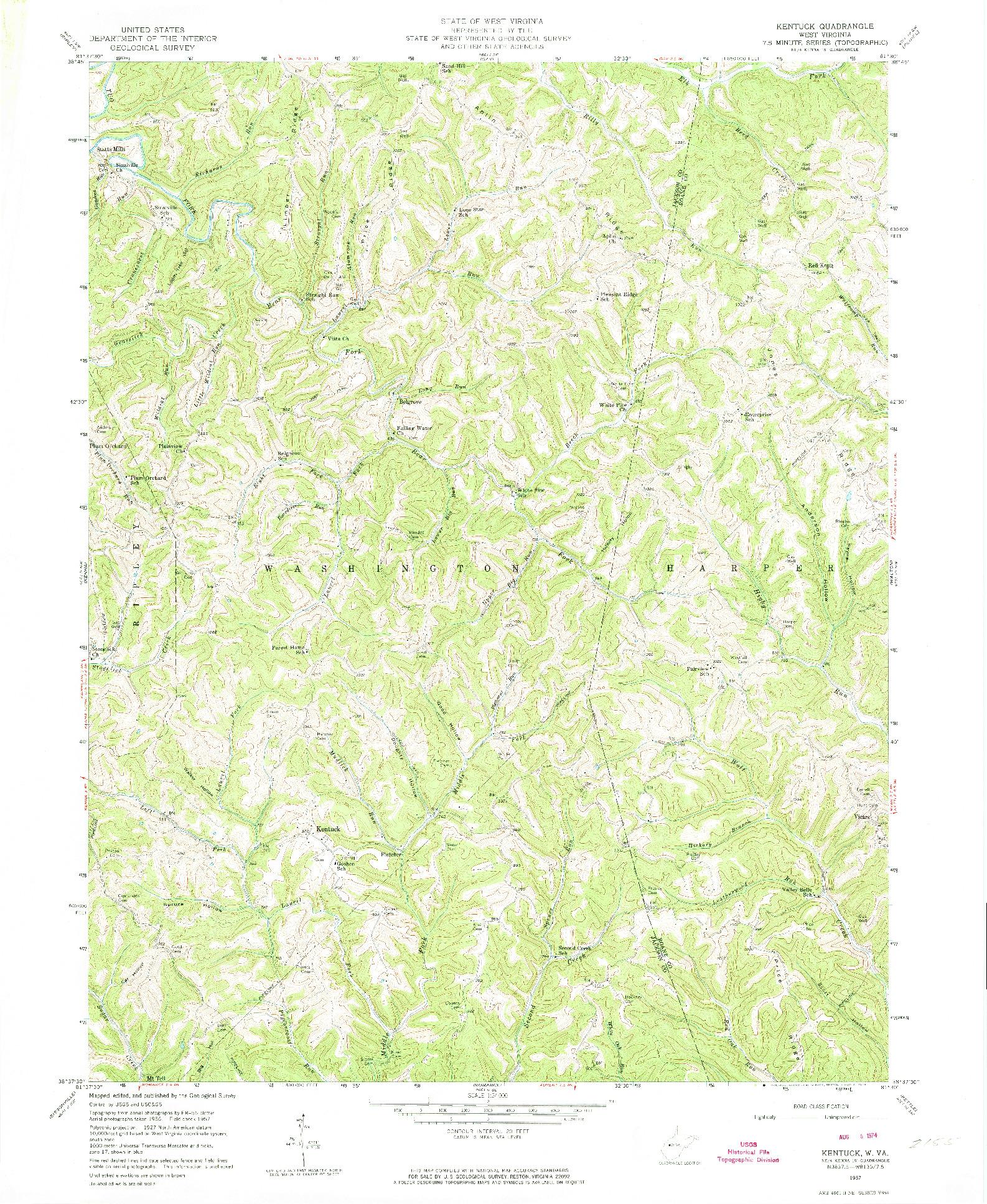 USGS 1:24000-SCALE QUADRANGLE FOR KENTUCK, WV 1957