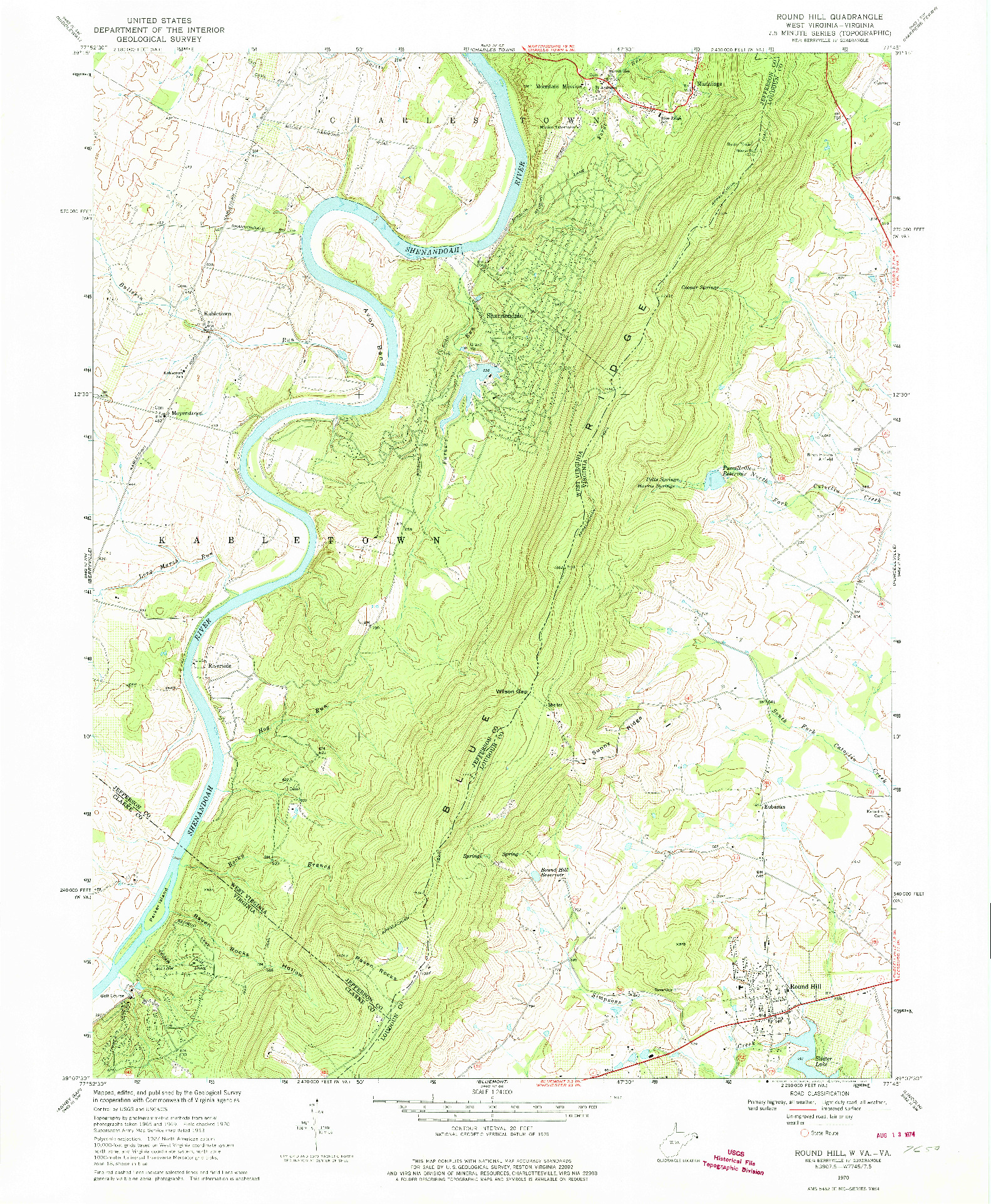 USGS 1:24000-SCALE QUADRANGLE FOR ROUND HILL, WV 1970