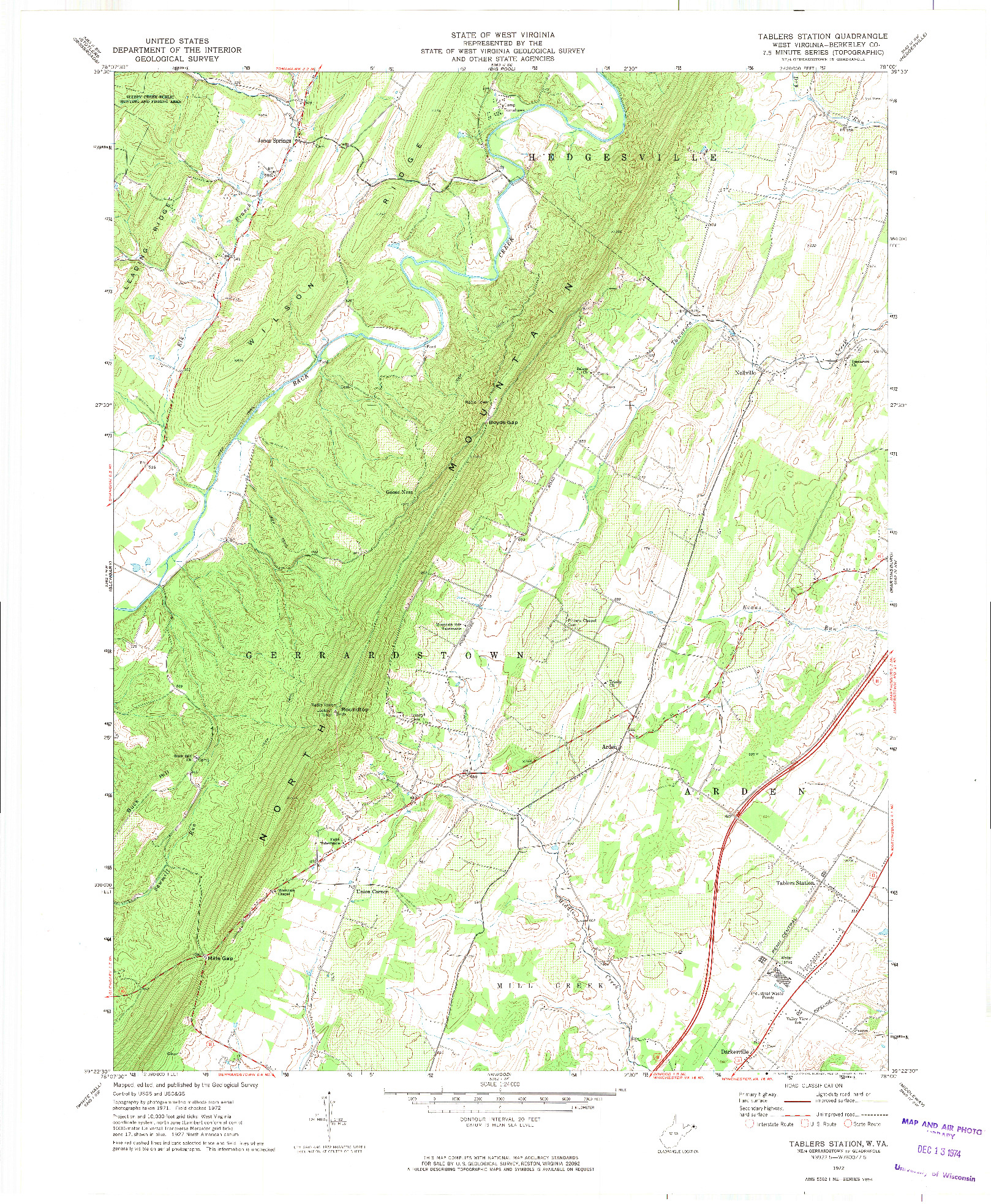 USGS 1:24000-SCALE QUADRANGLE FOR TABLERS STATION, WV 1972