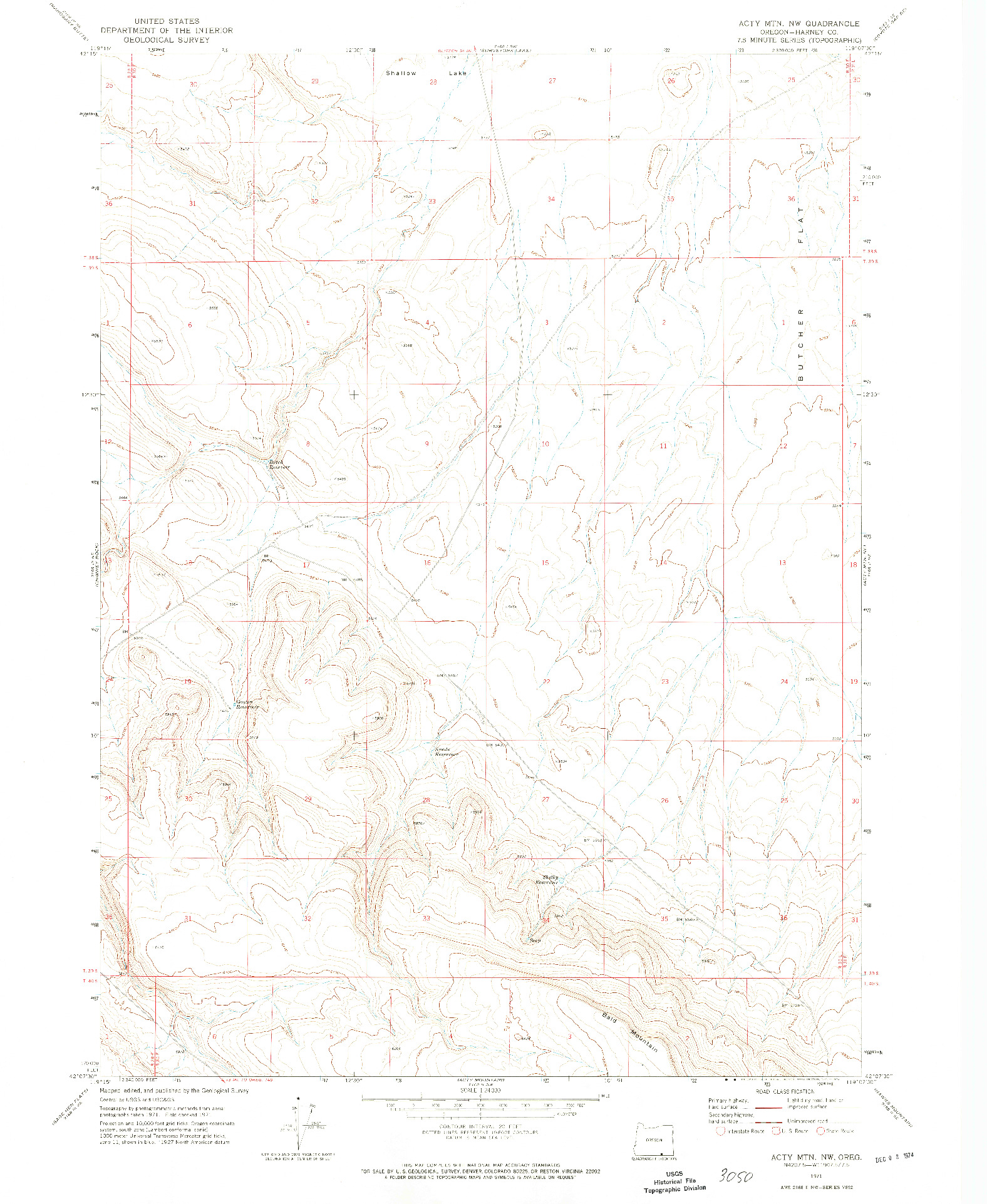 USGS 1:24000-SCALE QUADRANGLE FOR ACTY MOUNTAIN NW, OR 1971