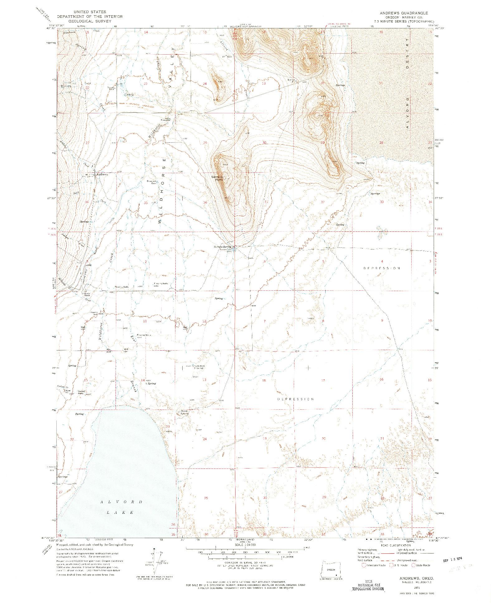 USGS 1:24000-SCALE QUADRANGLE FOR ANDREWS, OR 1971