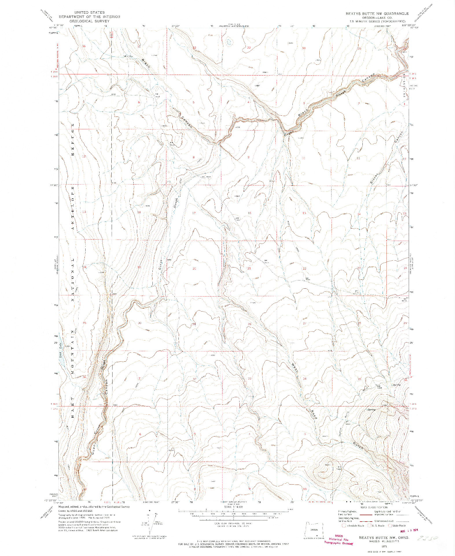USGS 1:24000-SCALE QUADRANGLE FOR BEATYS BUTTE NW, OR 1971