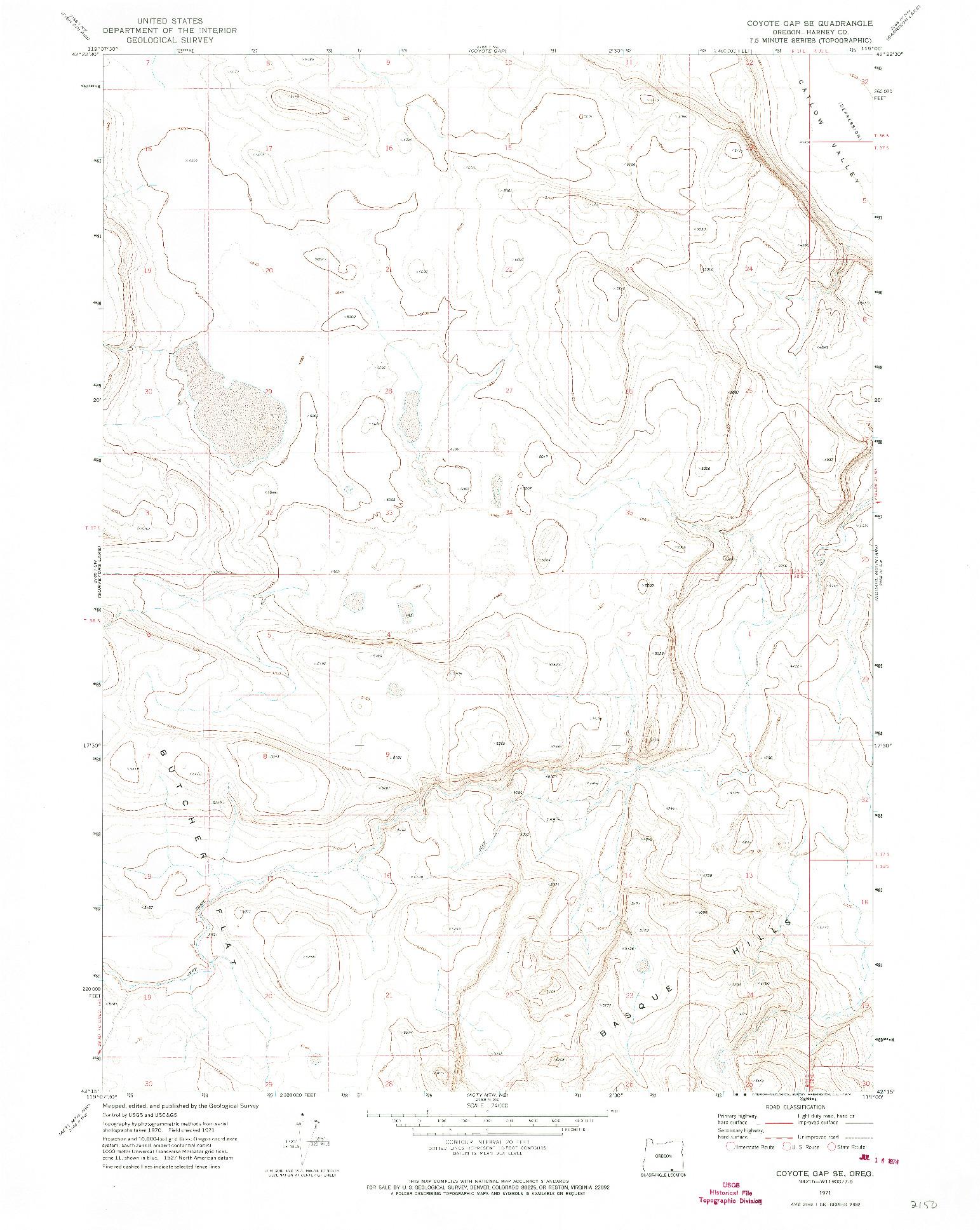 USGS 1:24000-SCALE QUADRANGLE FOR COYOTE GAP SE, OR 1971