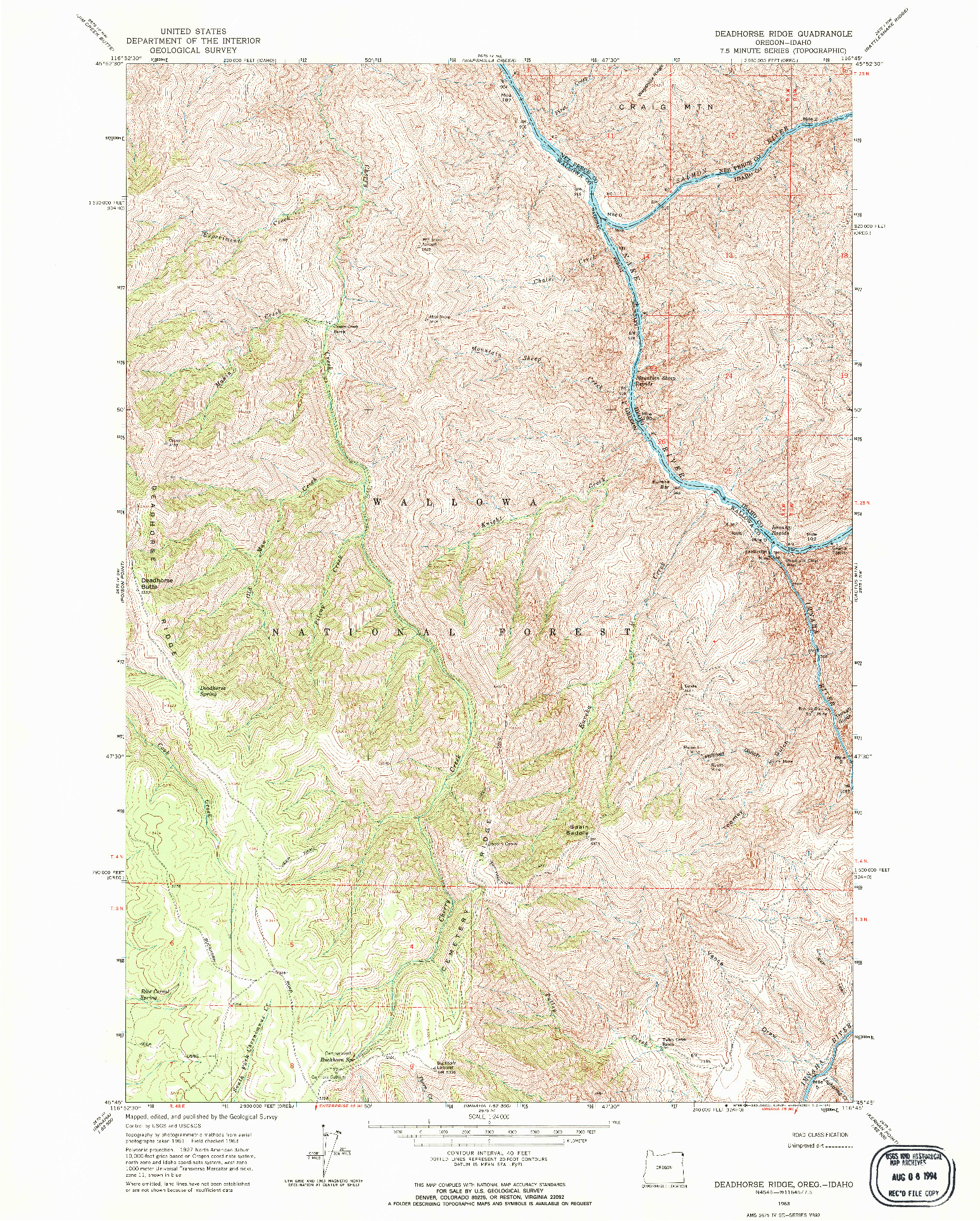 USGS 1:24000-SCALE QUADRANGLE FOR DEADHORSE RIDGE, OR 1963