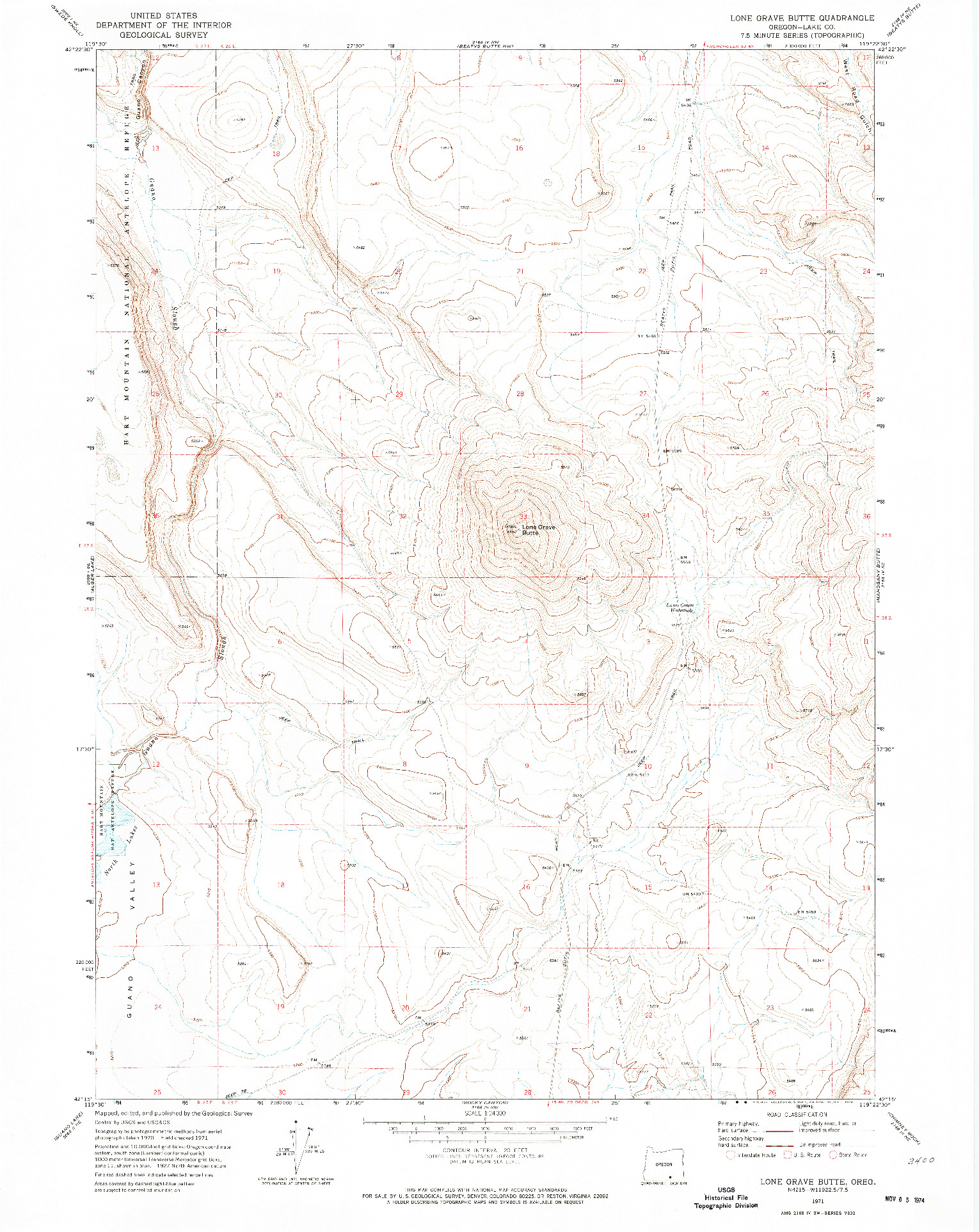 USGS 1:24000-SCALE QUADRANGLE FOR LONE GRAVE BUTTE, OR 1971