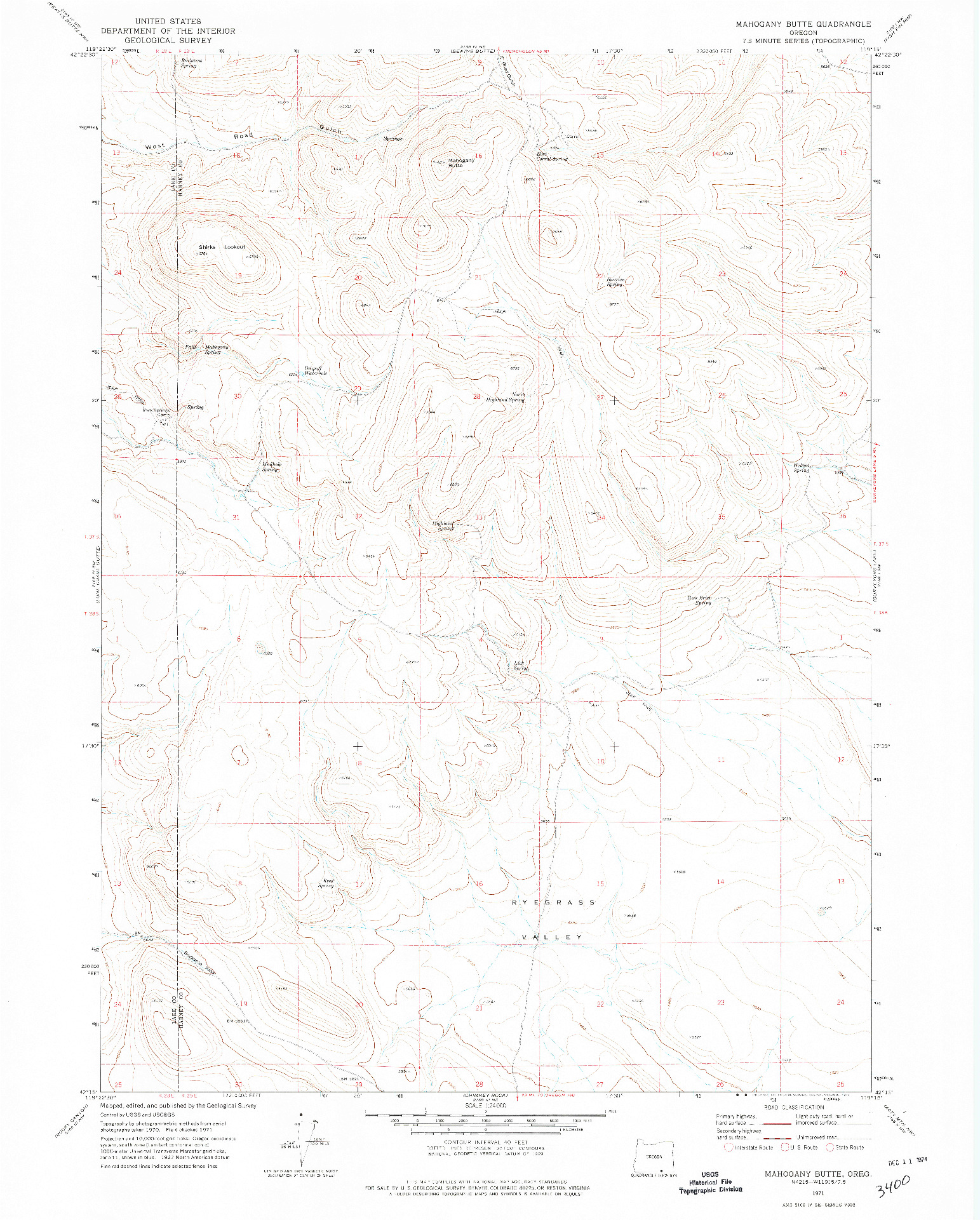 USGS 1:24000-SCALE QUADRANGLE FOR MAHOGANY BUTTE, OR 1971
