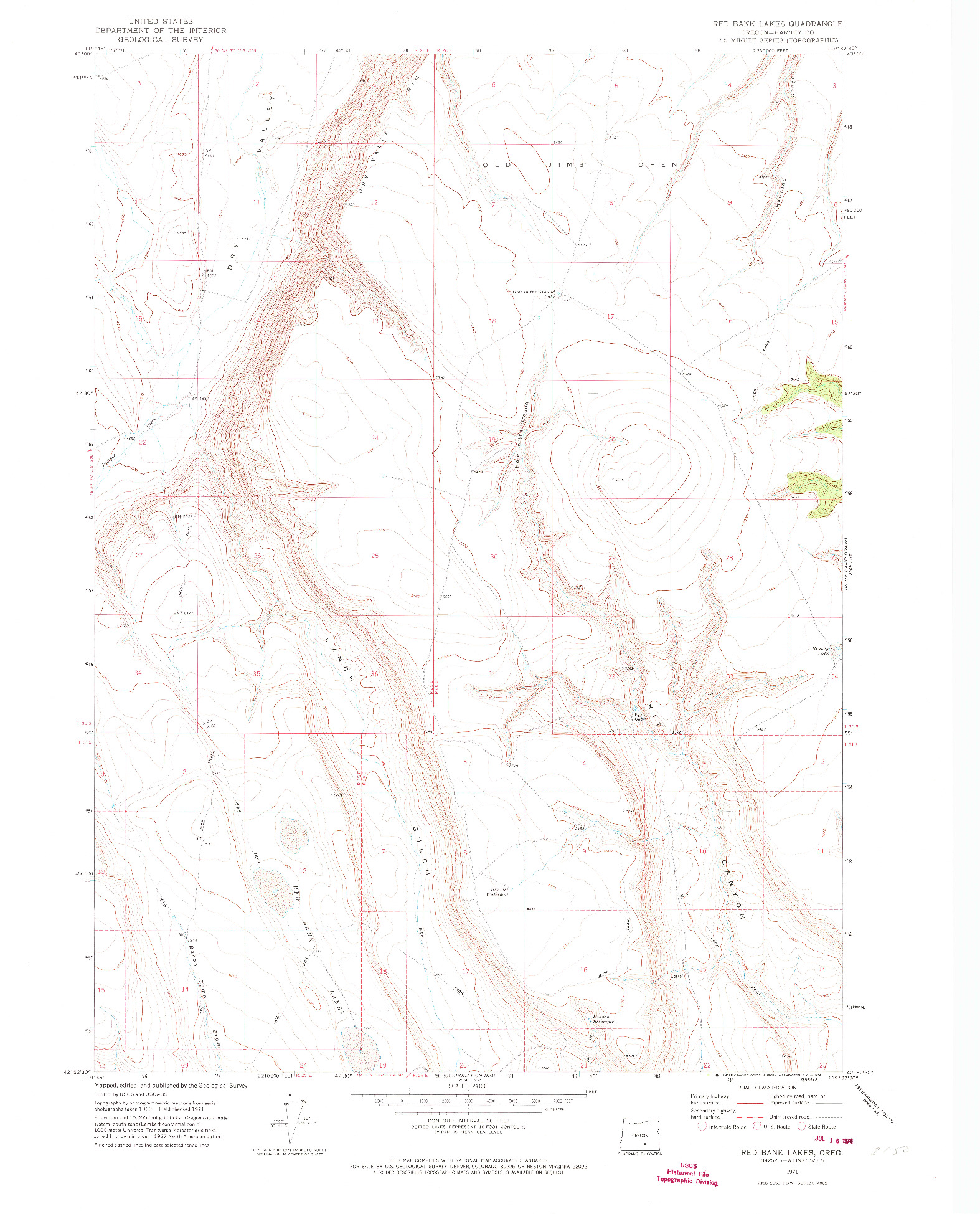 USGS 1:24000-SCALE QUADRANGLE FOR RED BANK LAKES, OR 1971