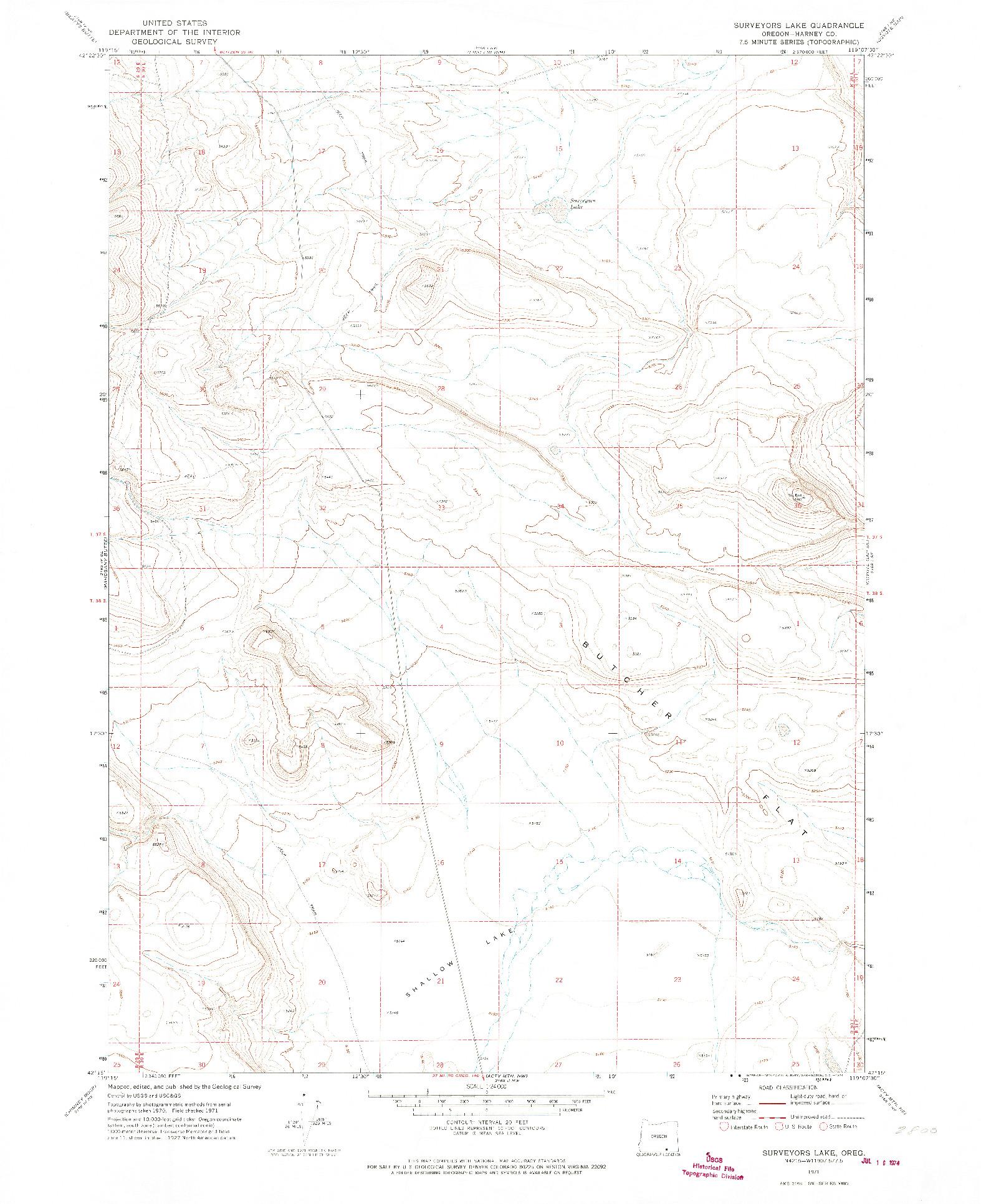 USGS 1:24000-SCALE QUADRANGLE FOR SURVEYORS LAKE, OR 1971